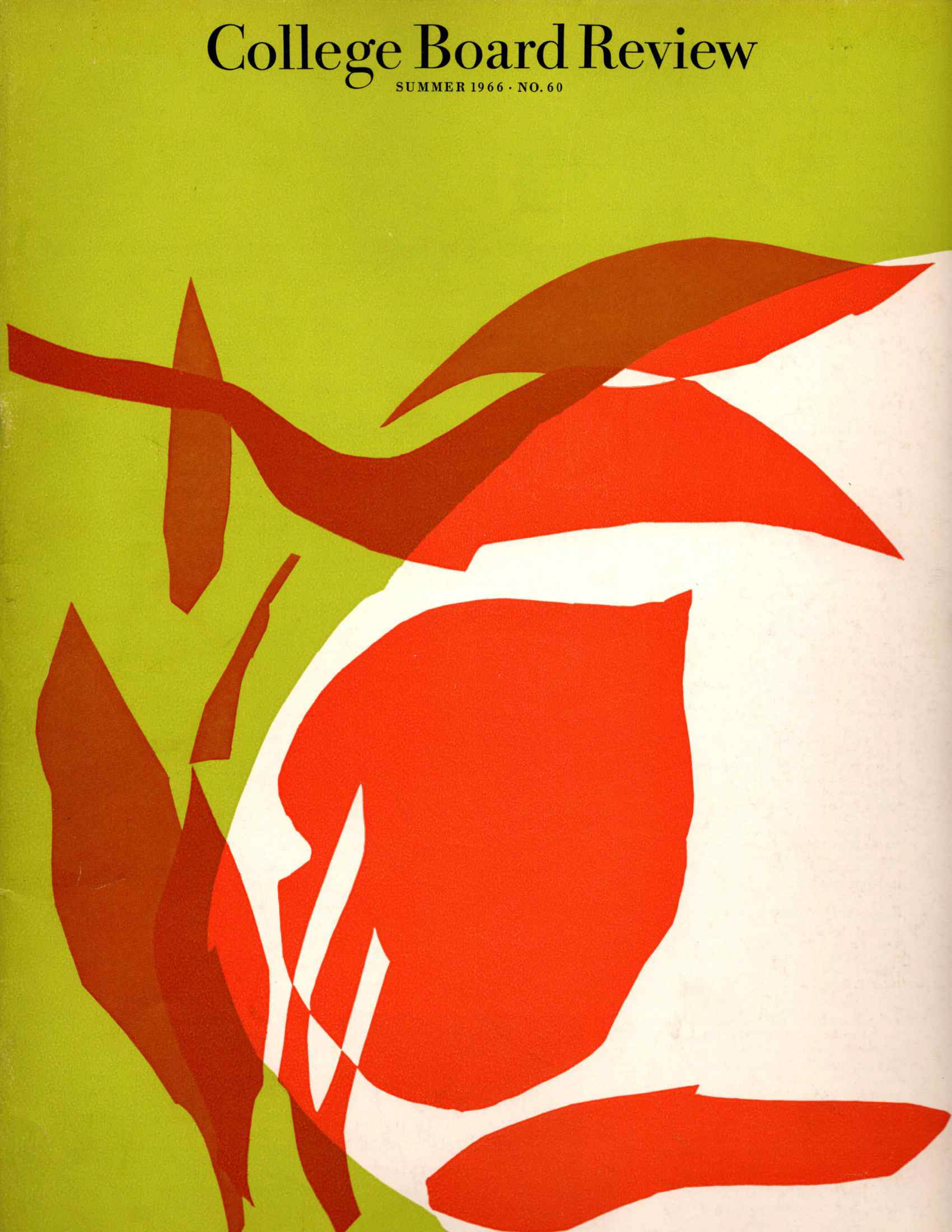 the cover of the summer 1966 issue of the college board review magazine featuring an abstract image in lime red and white