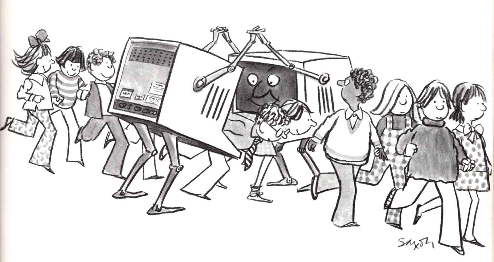 an illustration of students walking in a row between two cartoon computers with robotic arms and legs and smiling faces on their monitors