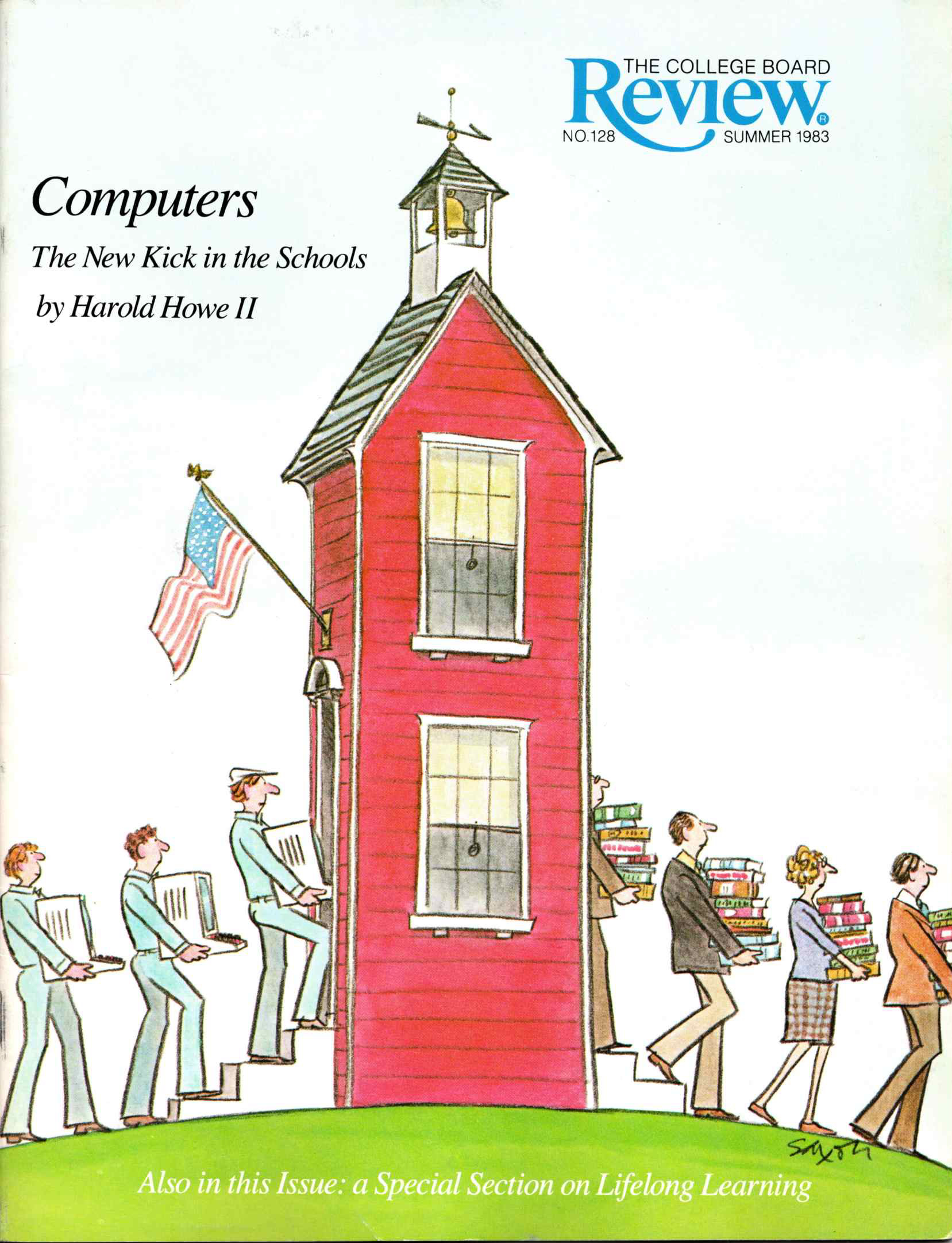 an illustration of people walking into a school carrying bulky computers and walking out with a stack of books
