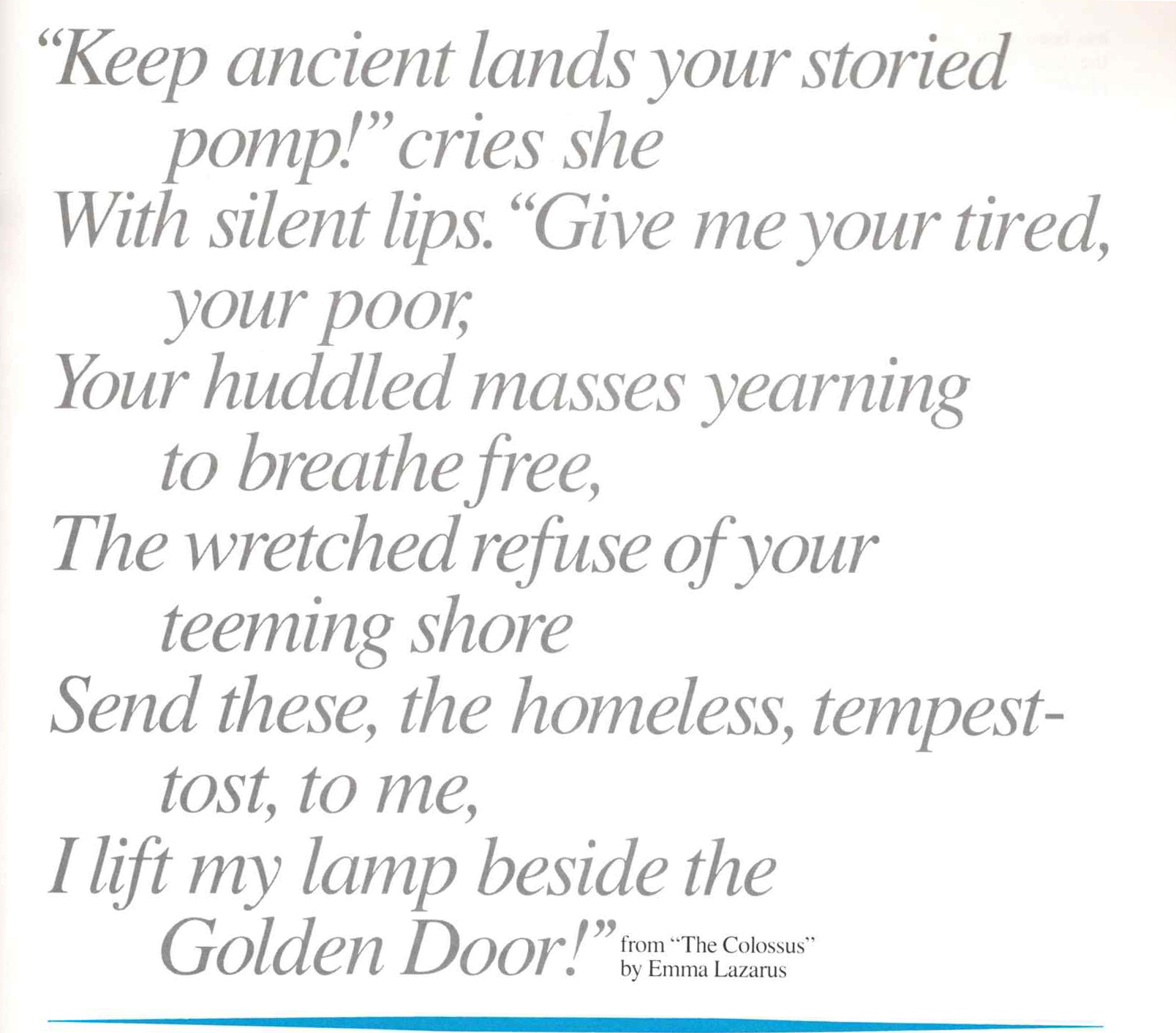 an excerpt from emma lazarus's poem the colossus