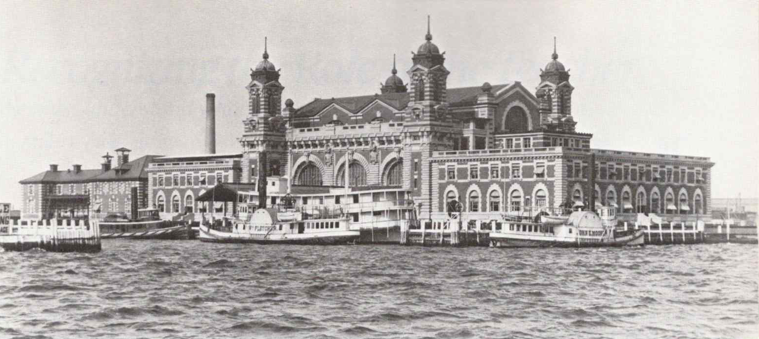 a black and white archival photo of ellis island