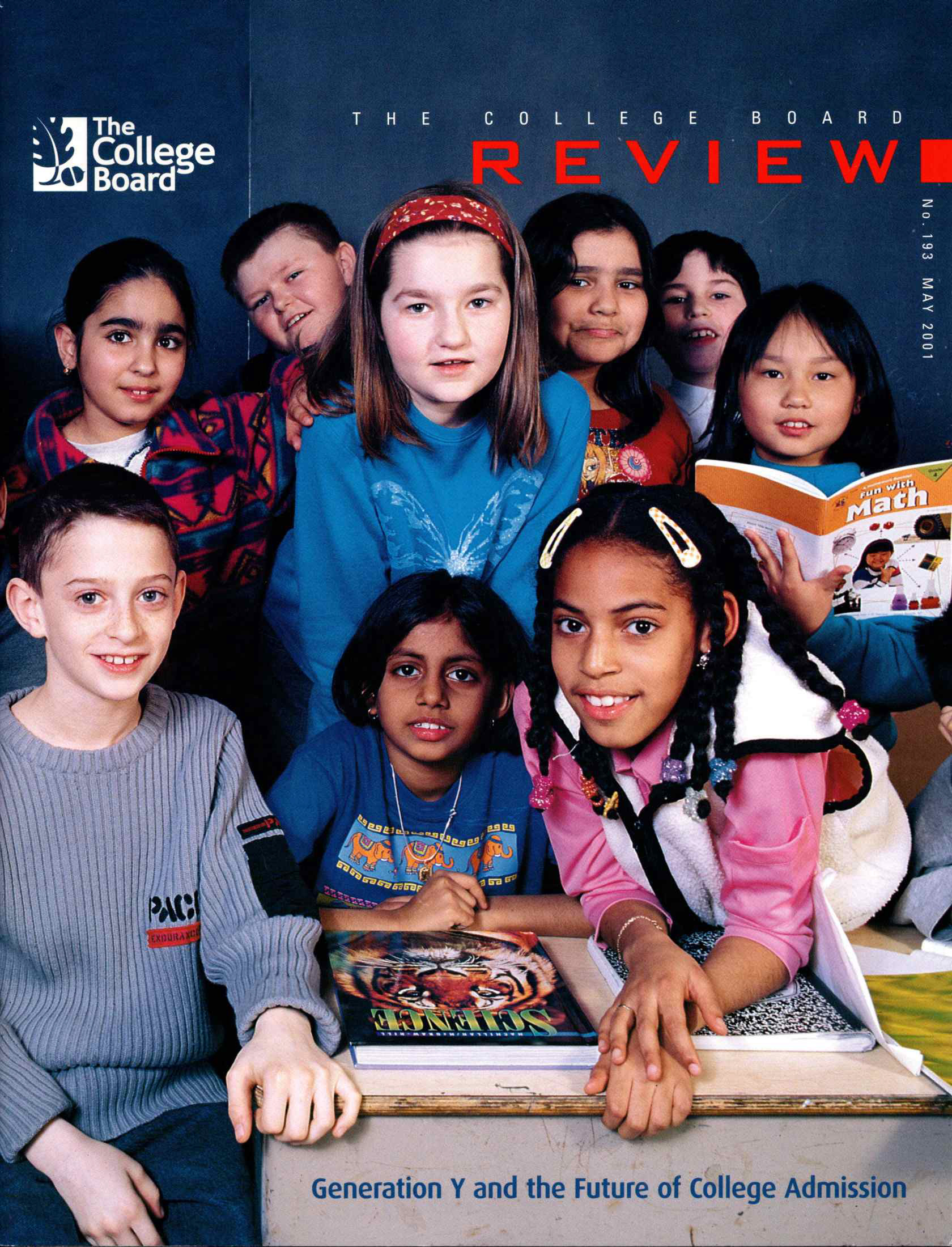 the cover of the may 2001 issue of the college board review featuring a group of male and female elementary school students