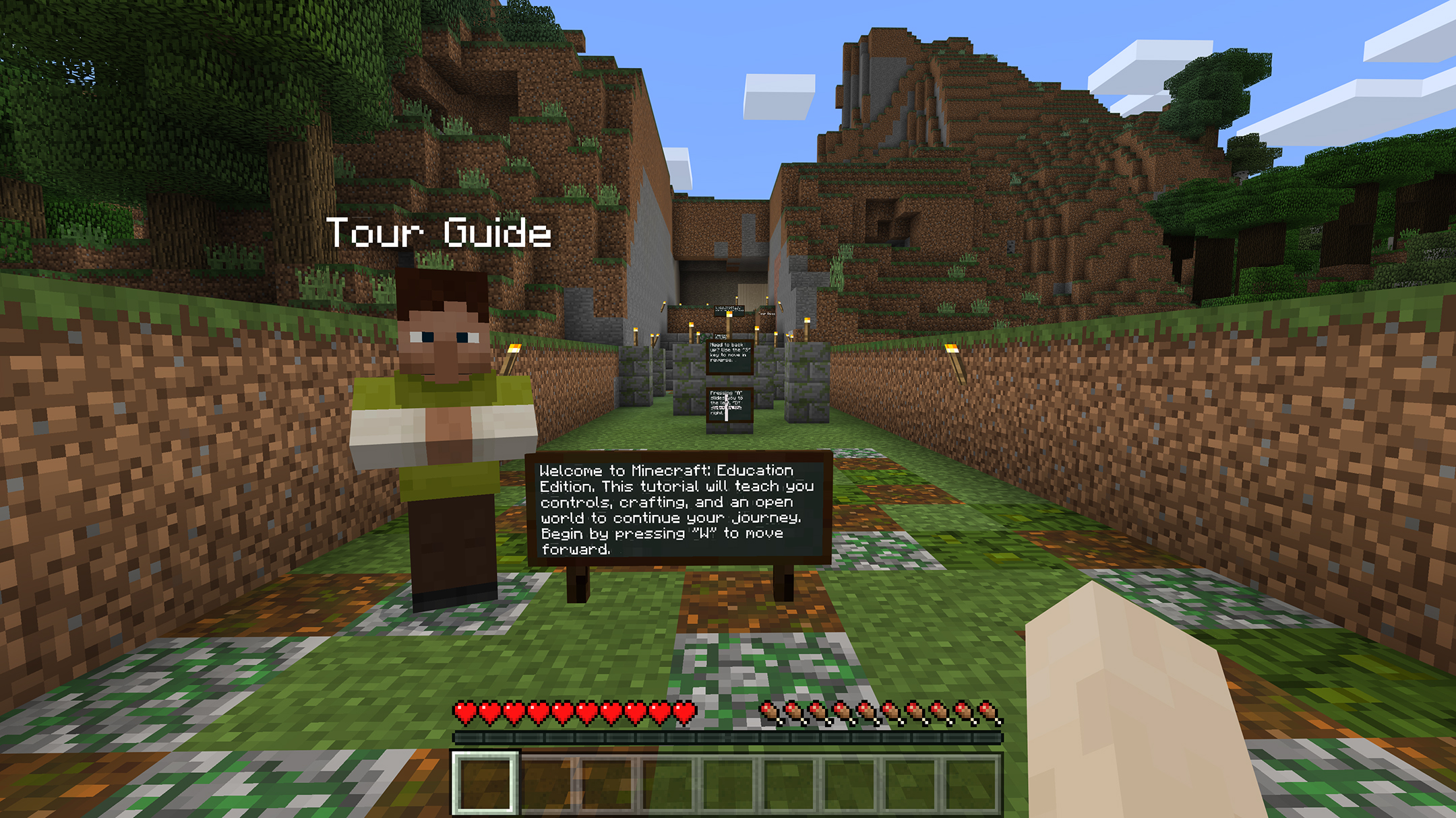 a screenshot from minecraft that introduces the game to new users