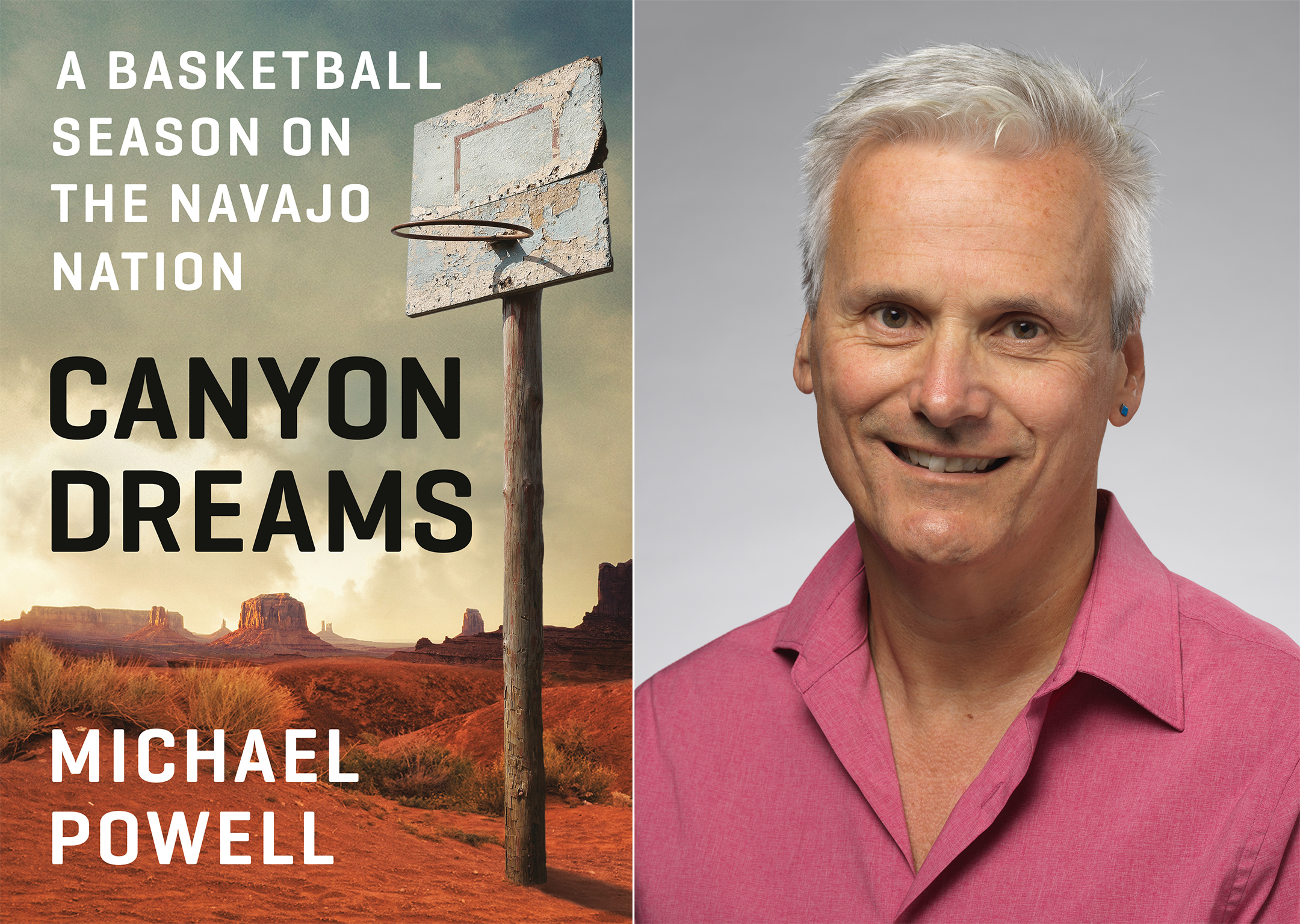 A split screen image with the cover of Canyon Dreams on the left and an author photo of Michael Powell on the right