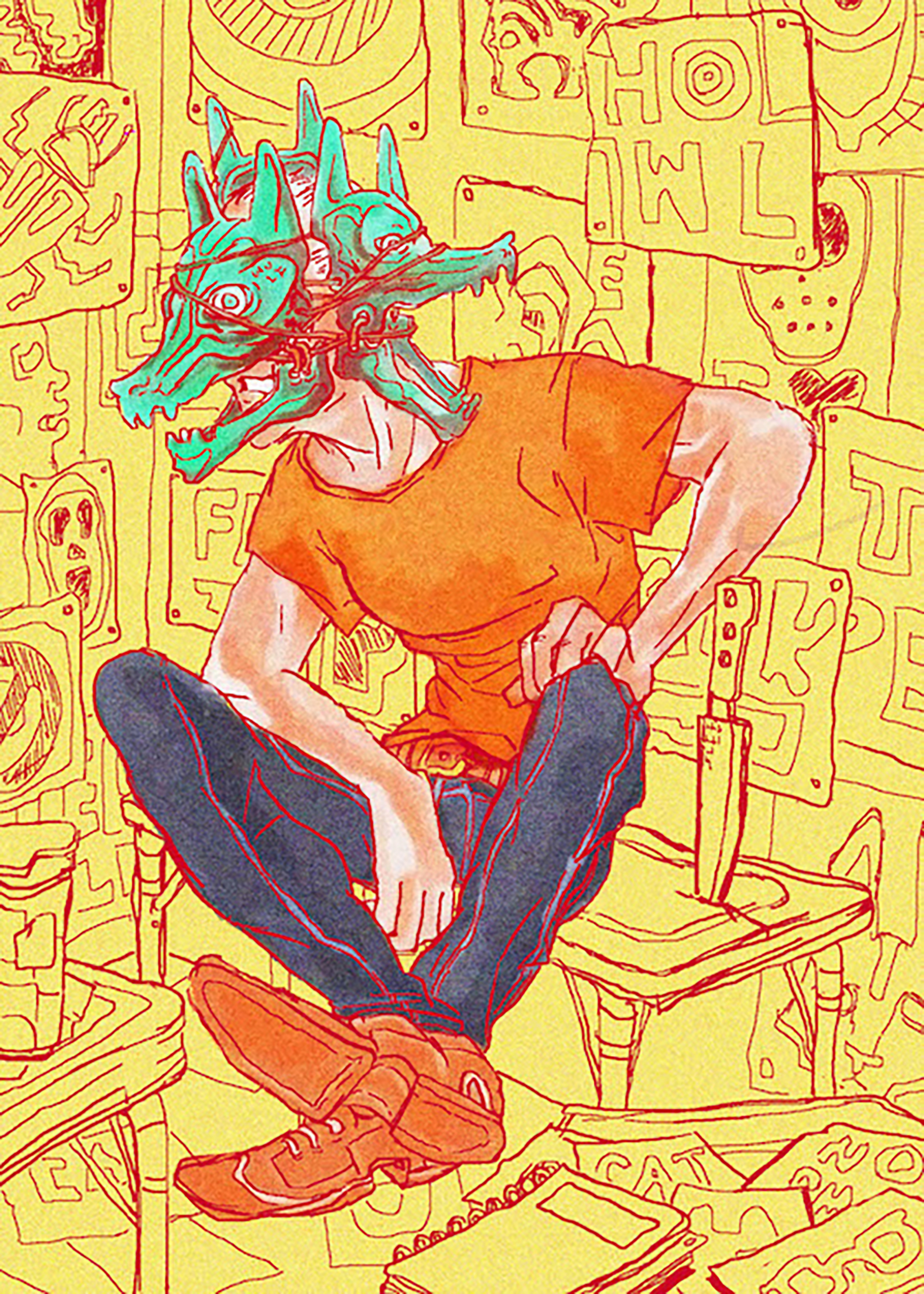 art in a comic book style featuring a young man seated on a stool wearing a green wolf mask and orange t-shirt and blue jeans against a yellow background