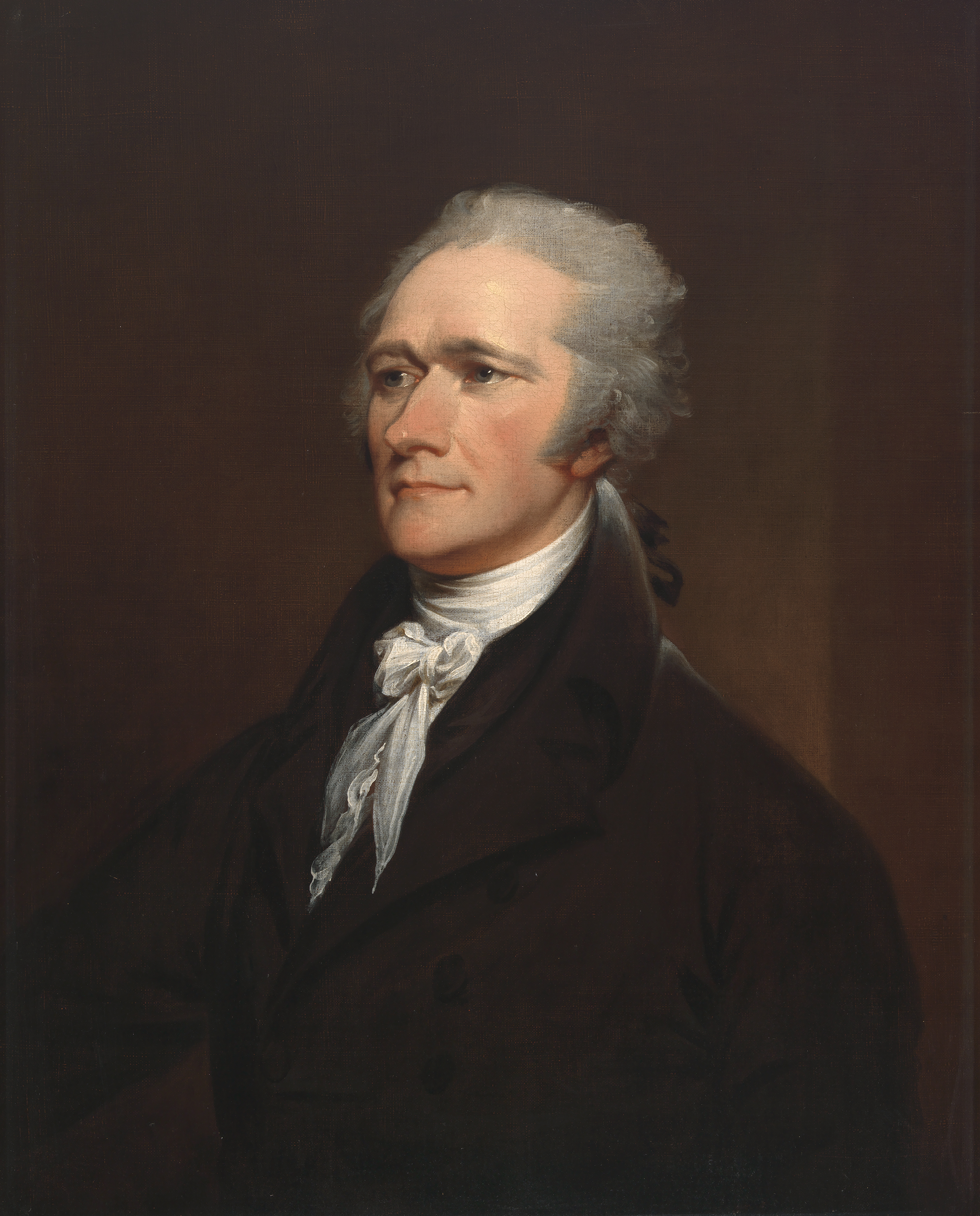 a portrait of alexander hamilton on a brown background