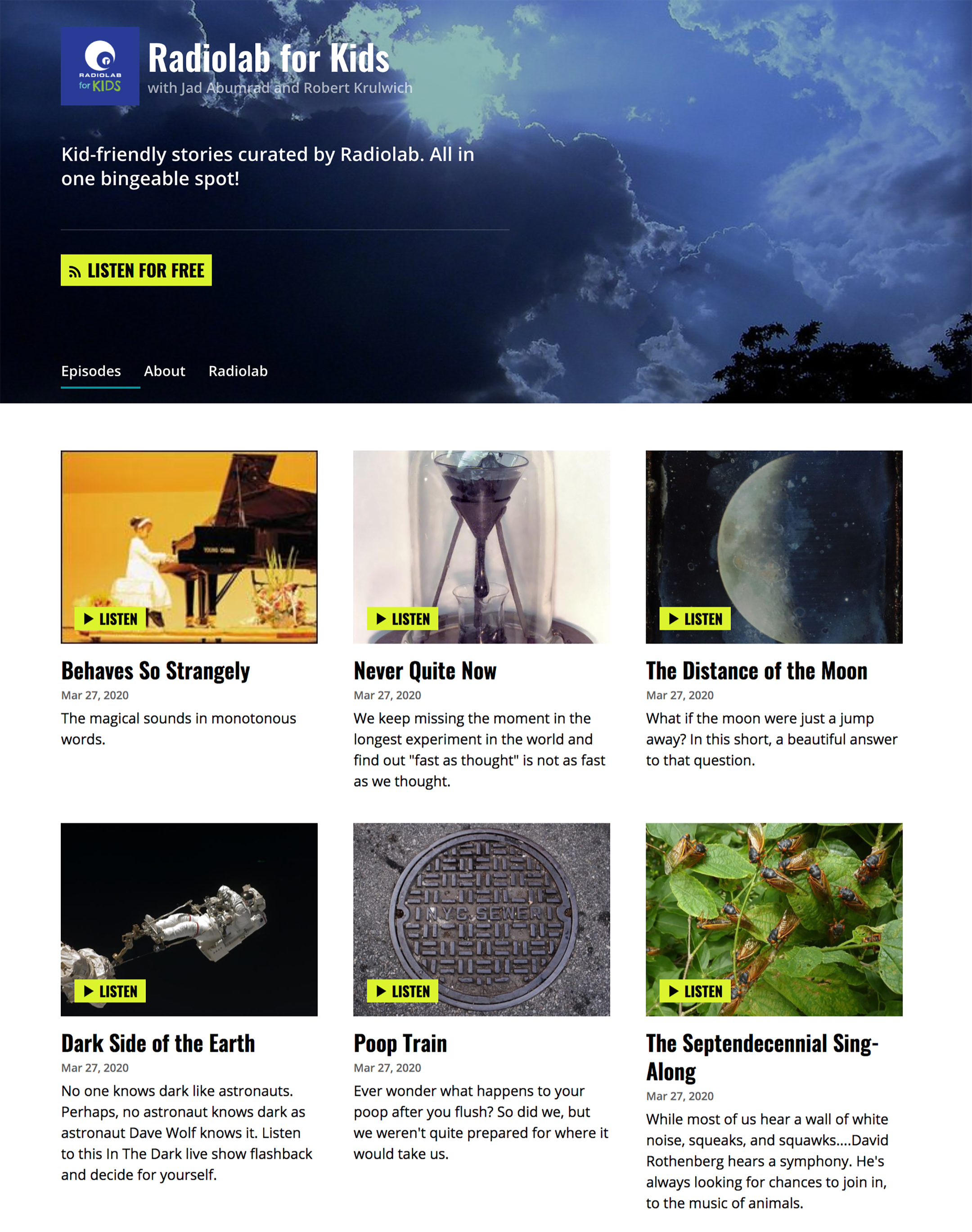 a screenshot of the radiolab for kids website showing a grid of six images promoting six current episodes of the podcast