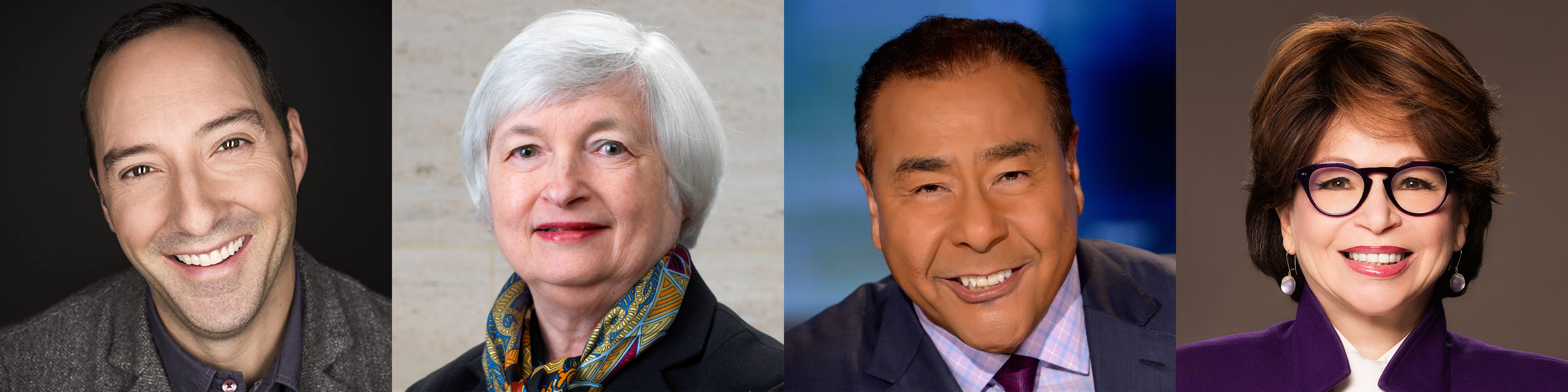 Photo montage showing, from left to right, Tony Hale, Janet Yellen, John Quiñones, and Valerie Jarrett