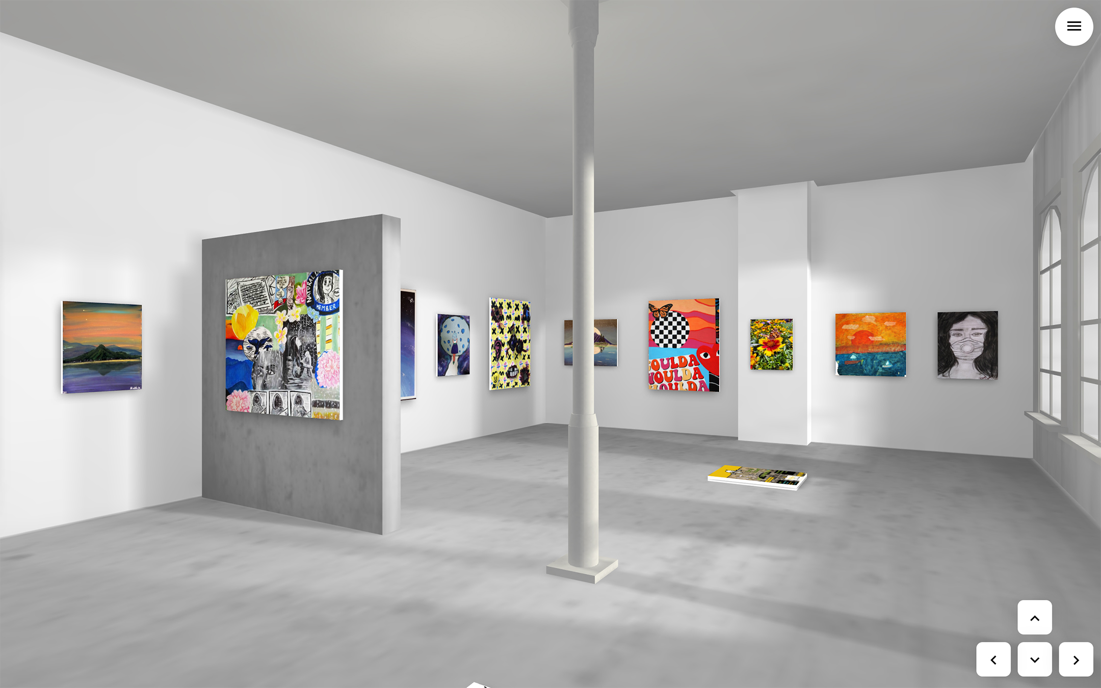 virtual reproduction of the pfeiffer university student art show, recreating the gallery space with paintings hanging on the walls