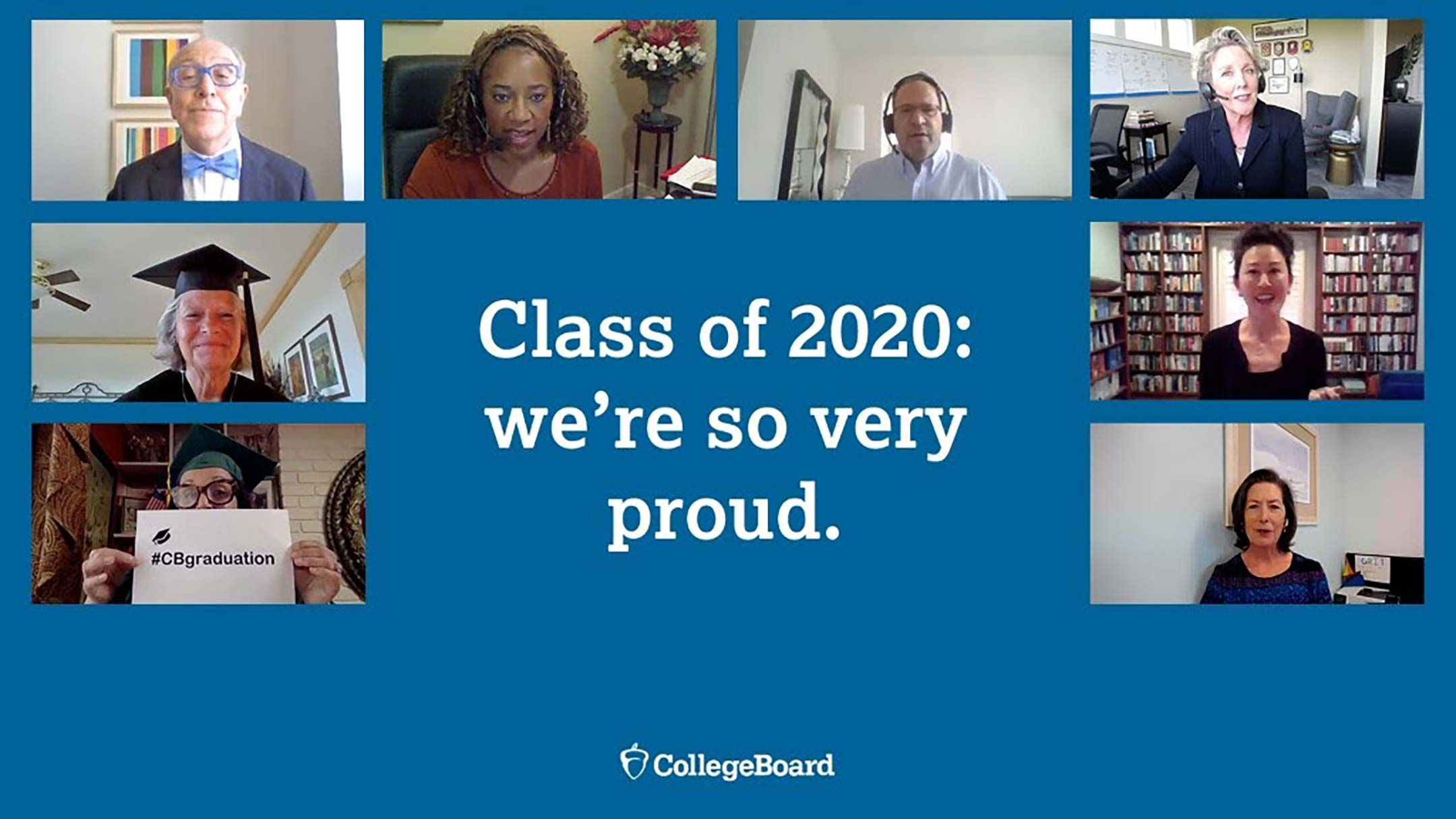 screenshot of speakers who addressed graduates as part of the college board's virtual graduation ceremony