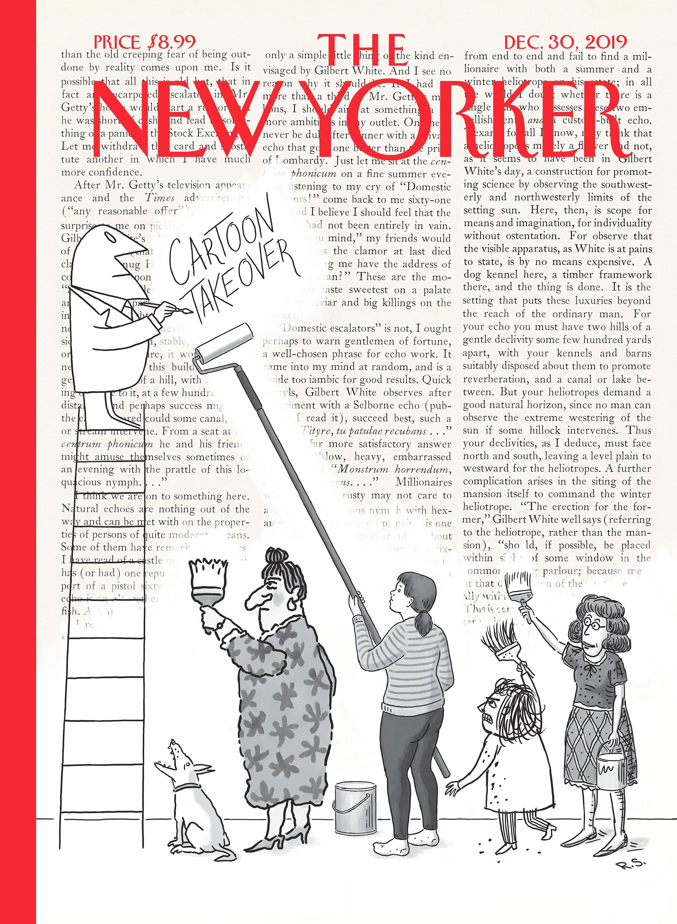 cover of the new yorker showing four cartoon characters whitewashing printed text while a fifth, standing on a ladder, scrawls the words cartoon takeover near the top of the page