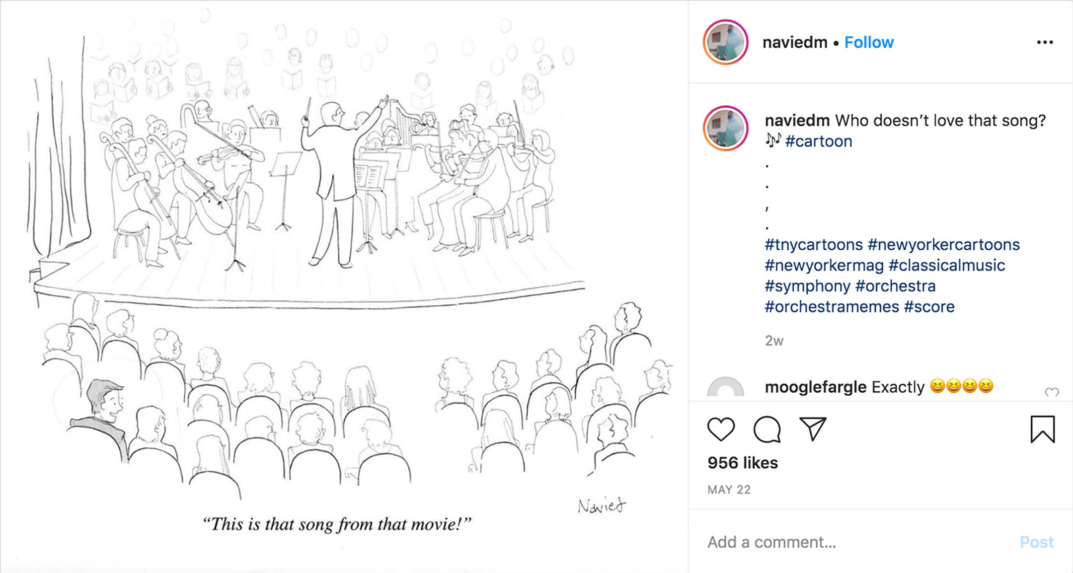 screenshot of an instragram page showing a cartoon of a crowded orchestra audience with one man excitedly remarking that the next piece is from a movie