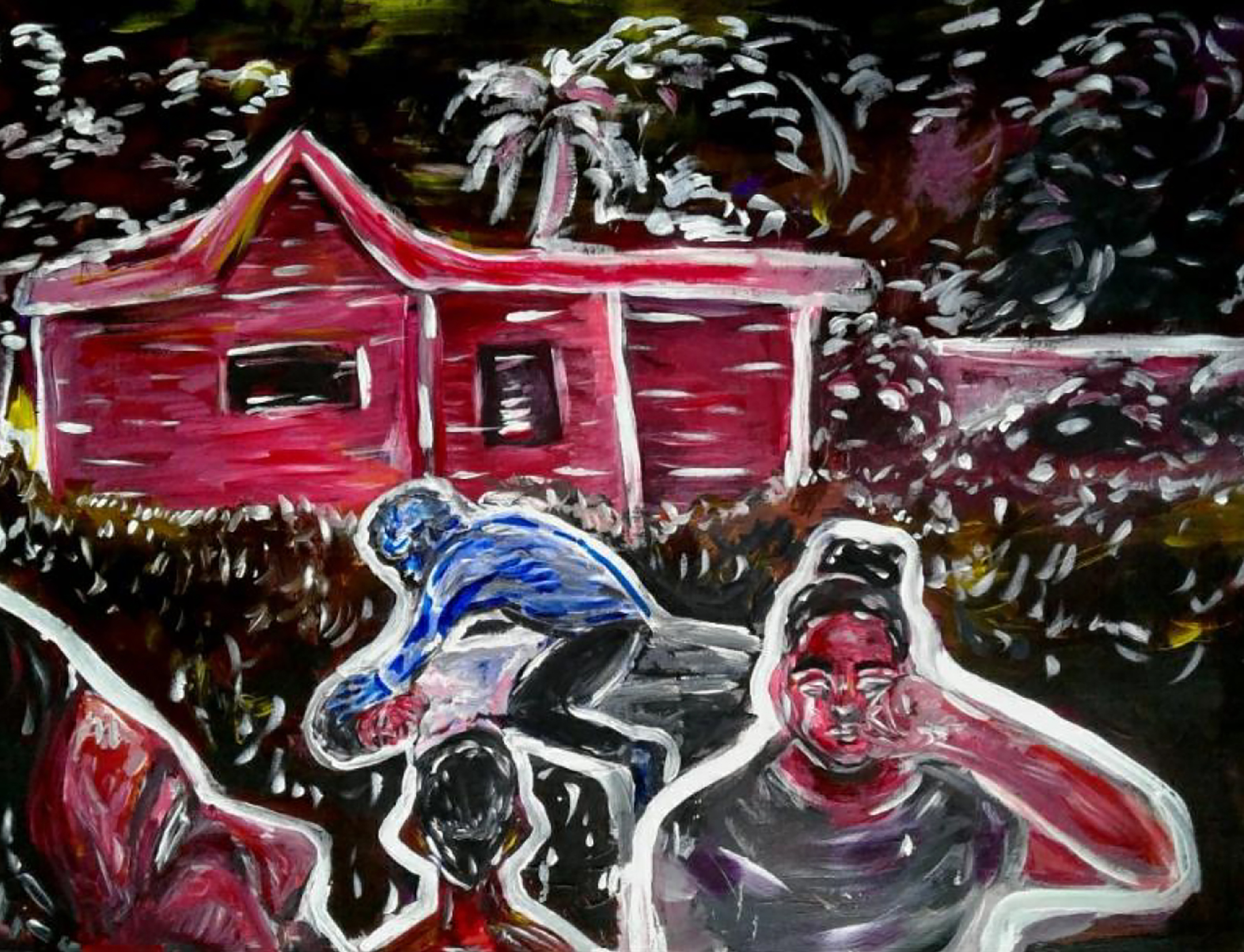 Illustration in black, red, and other muted colors, of a police officer holding down a man, kneeling on his back, in front of a house as a woman runs away, grabbing her head, in the foreground