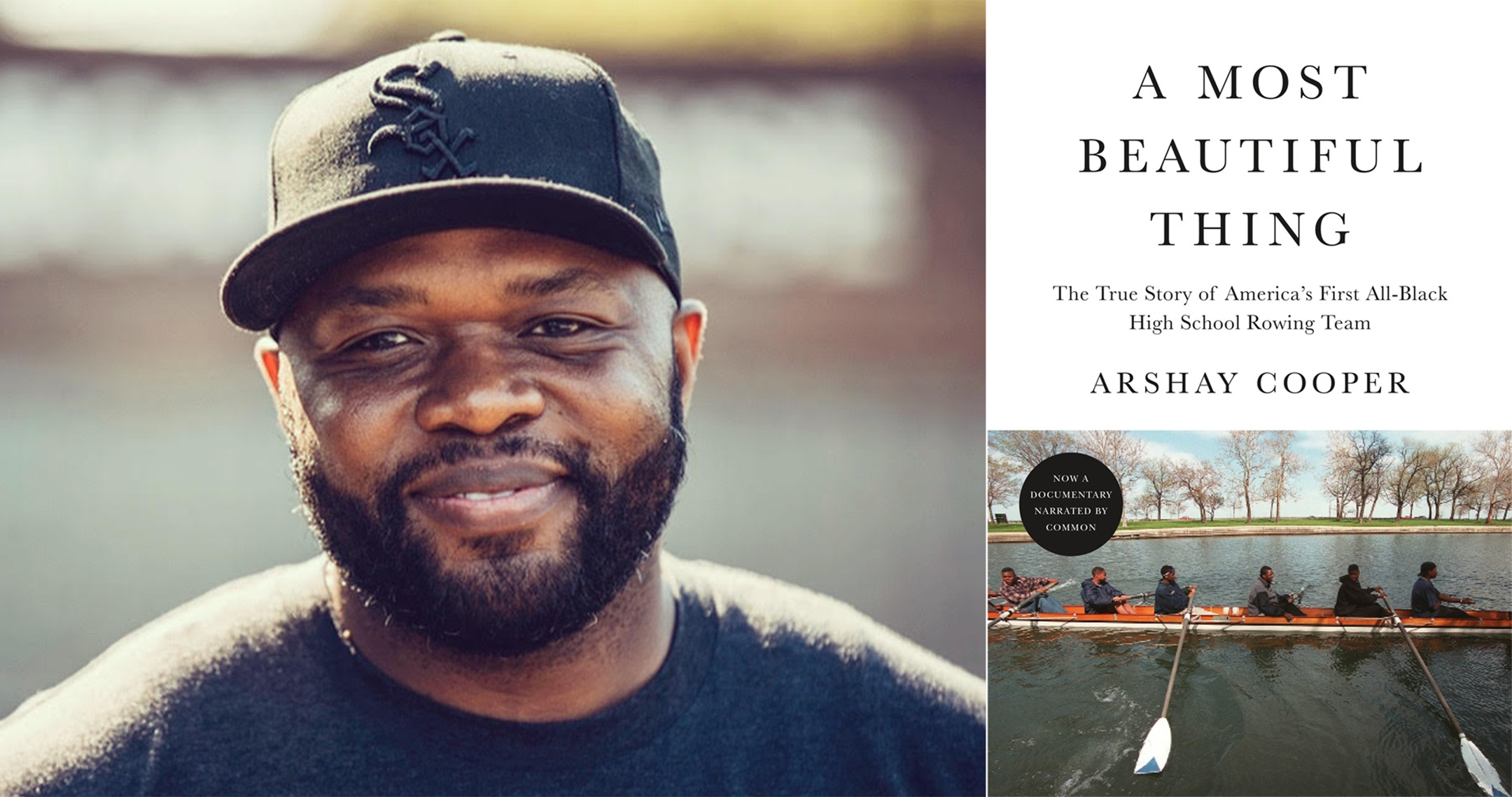 author photo of arshay cooper (left) and the cover of his book a most beautiful thing (right)