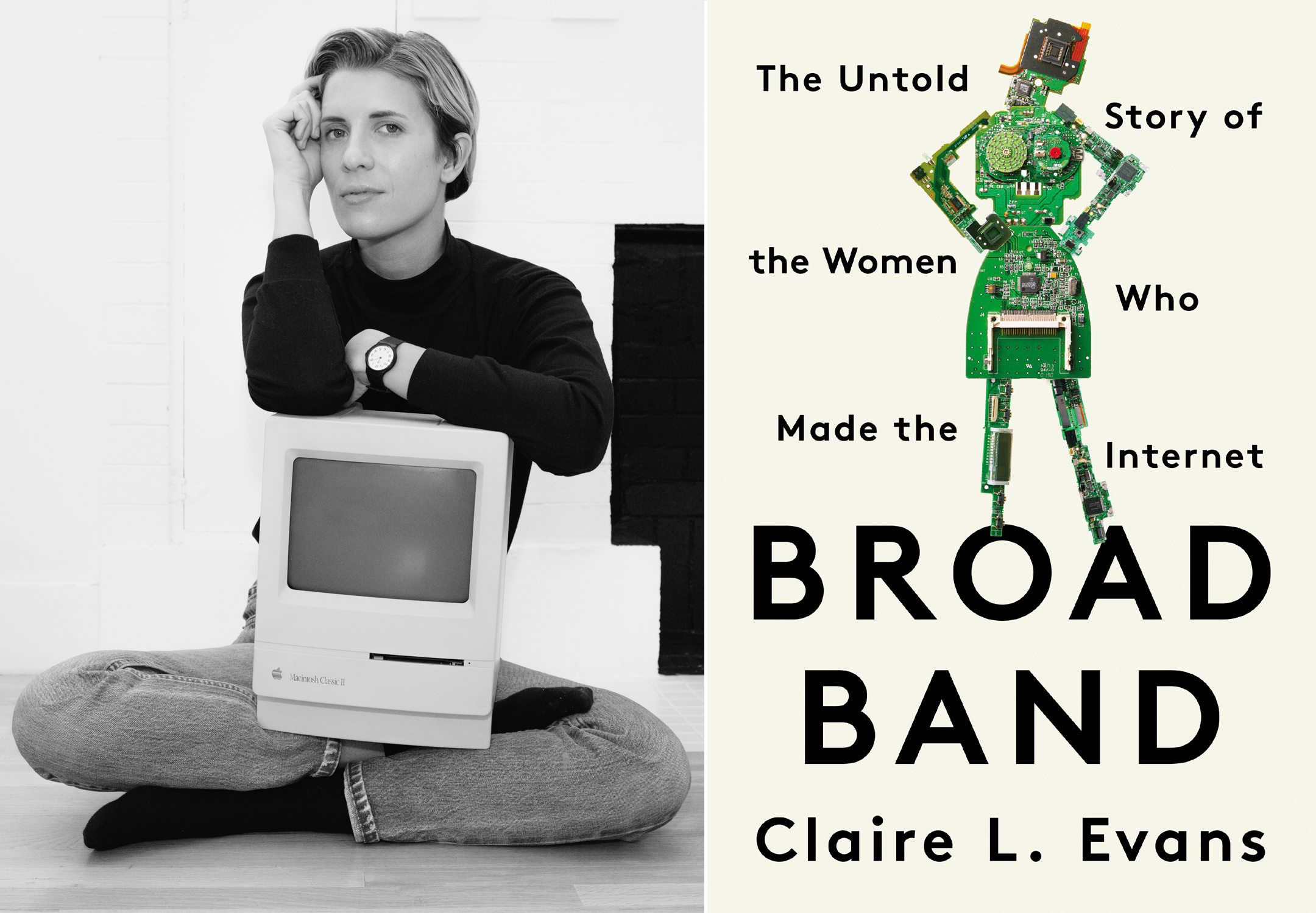black and white photo of author claire l. evans on the left and the cover of her book broad band on the left