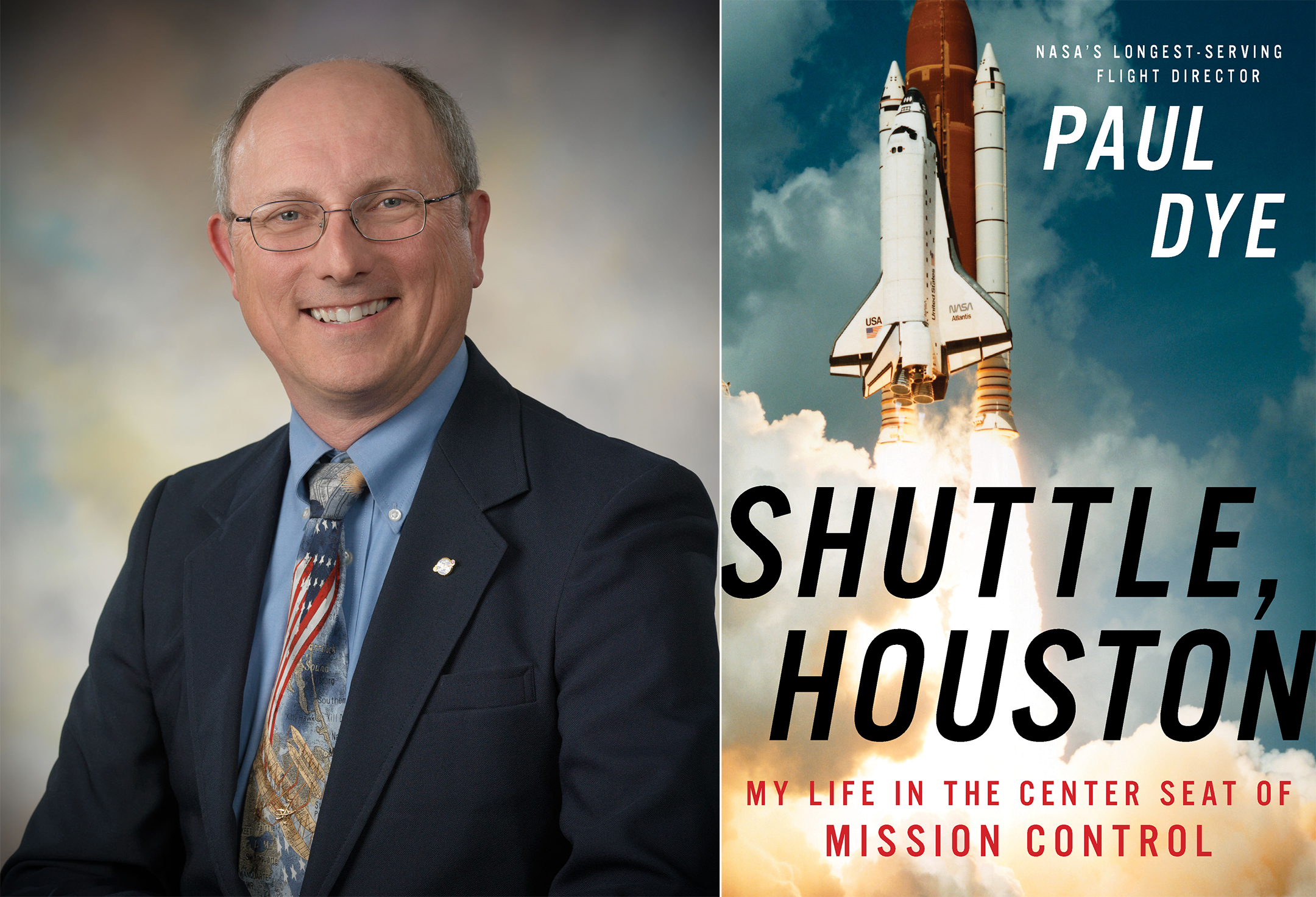 paul dye author photo on the left and the cover of shuttle, houston on the right