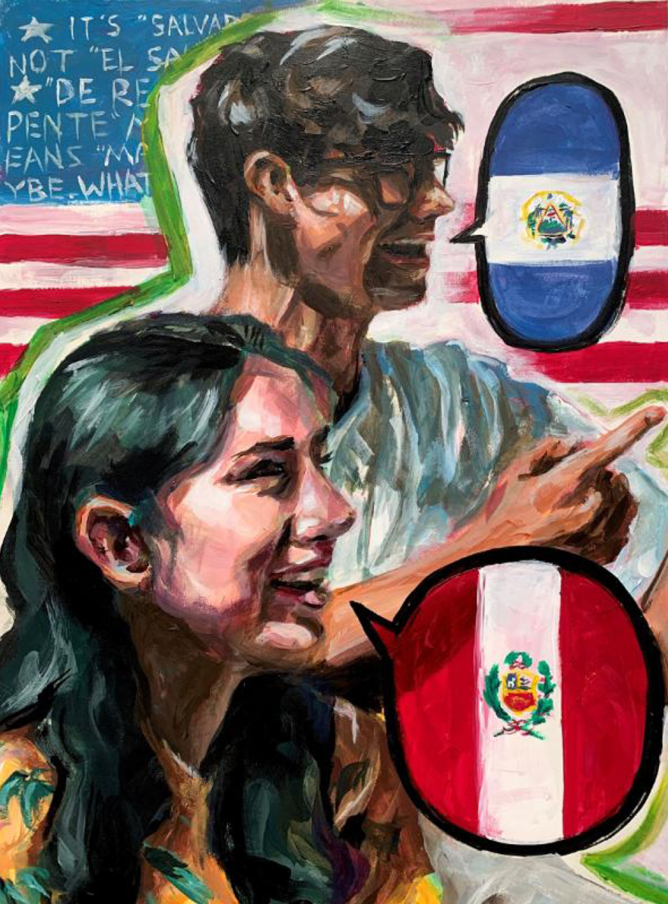 Painting of a young woman in front of a young man who are both infant of an american flag. The young woman has a speech bubble with the Peruvian flag, while the young man has a speech bubble with the El Salvador flag