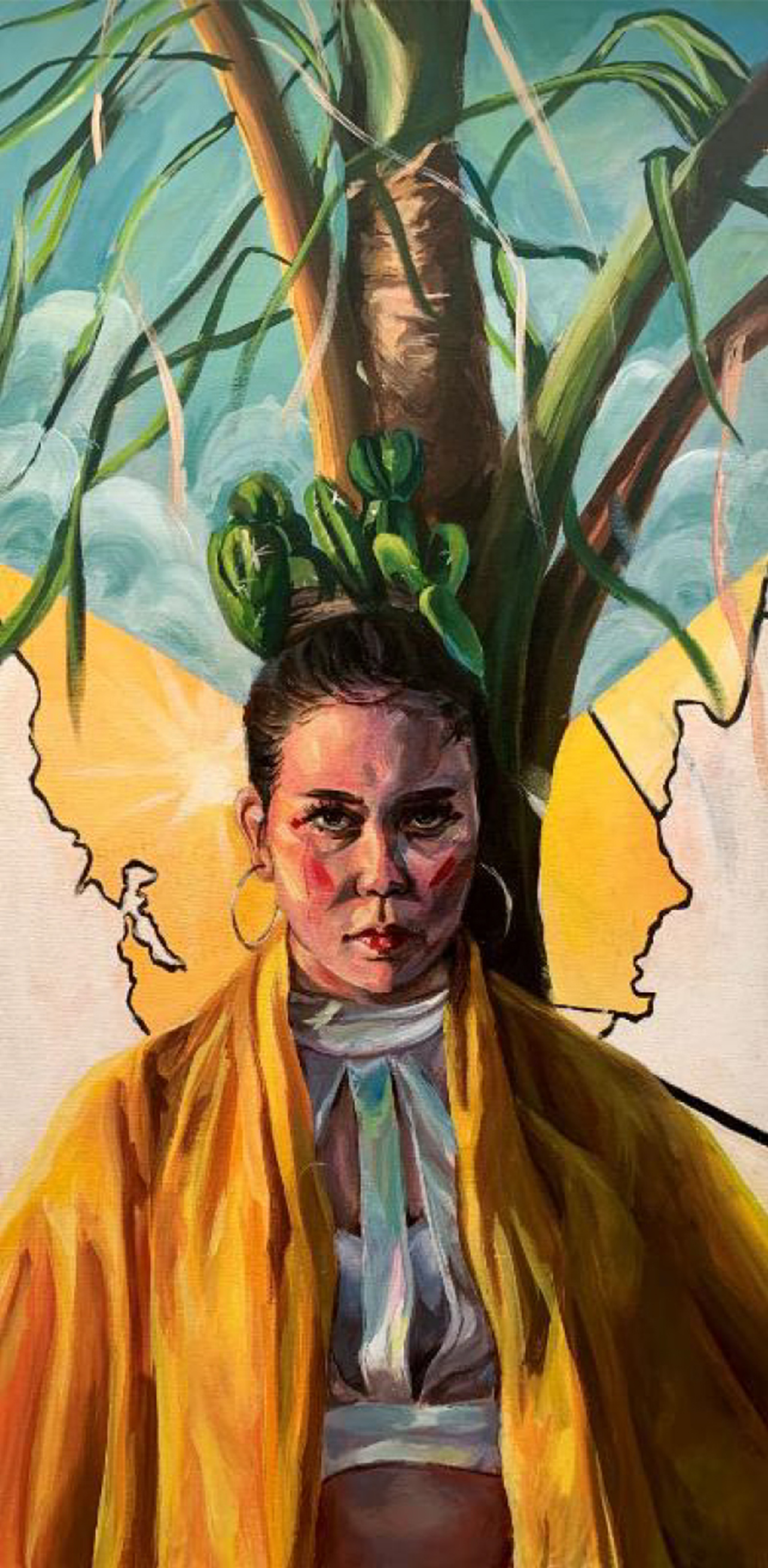 painting of an indigenous woman in yellow staring at the viewer, with a tree behind her