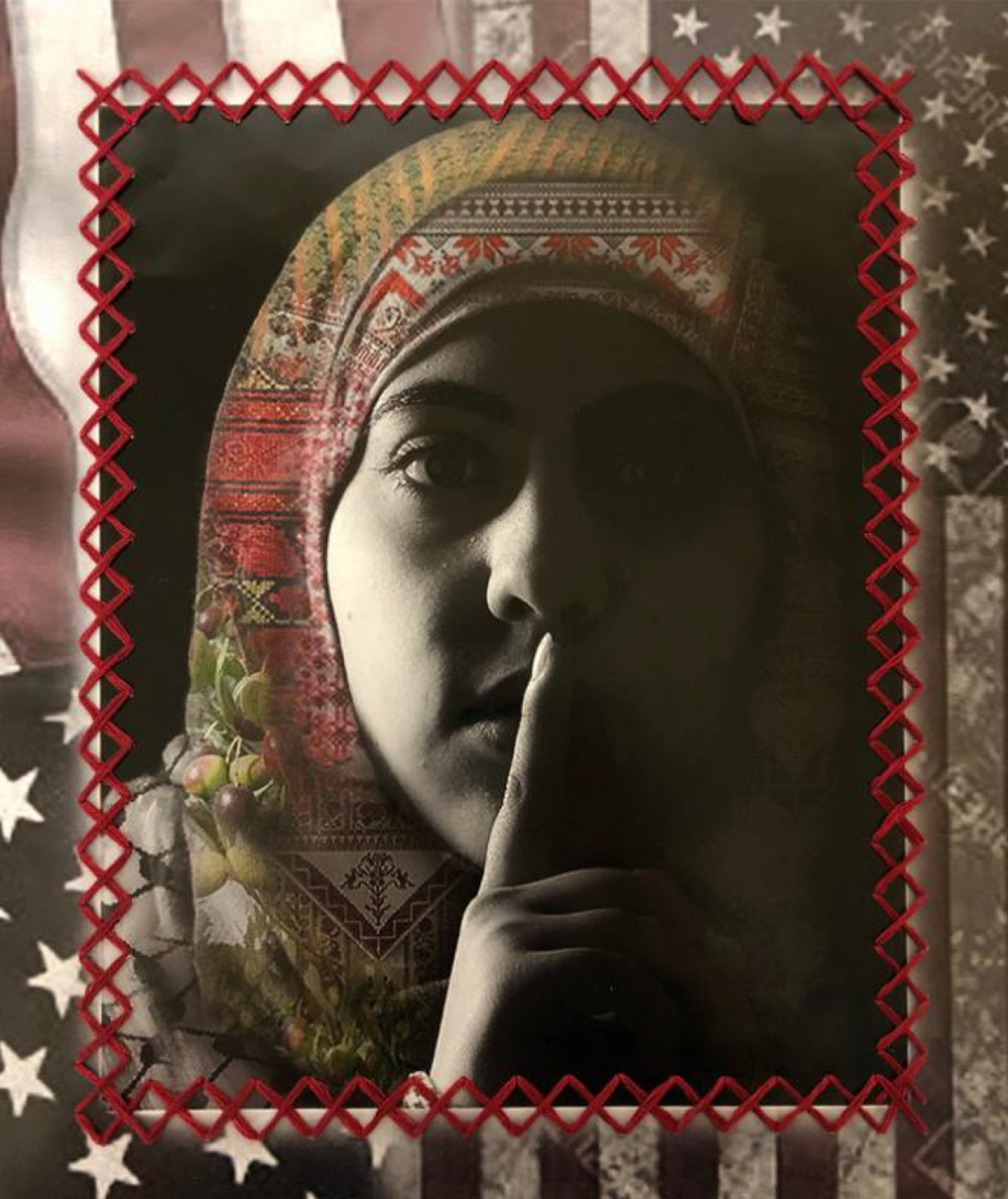 Photo montage of a young woman in a head covering with her finger over her mouth, with the image stitched onto a background of faded american flags