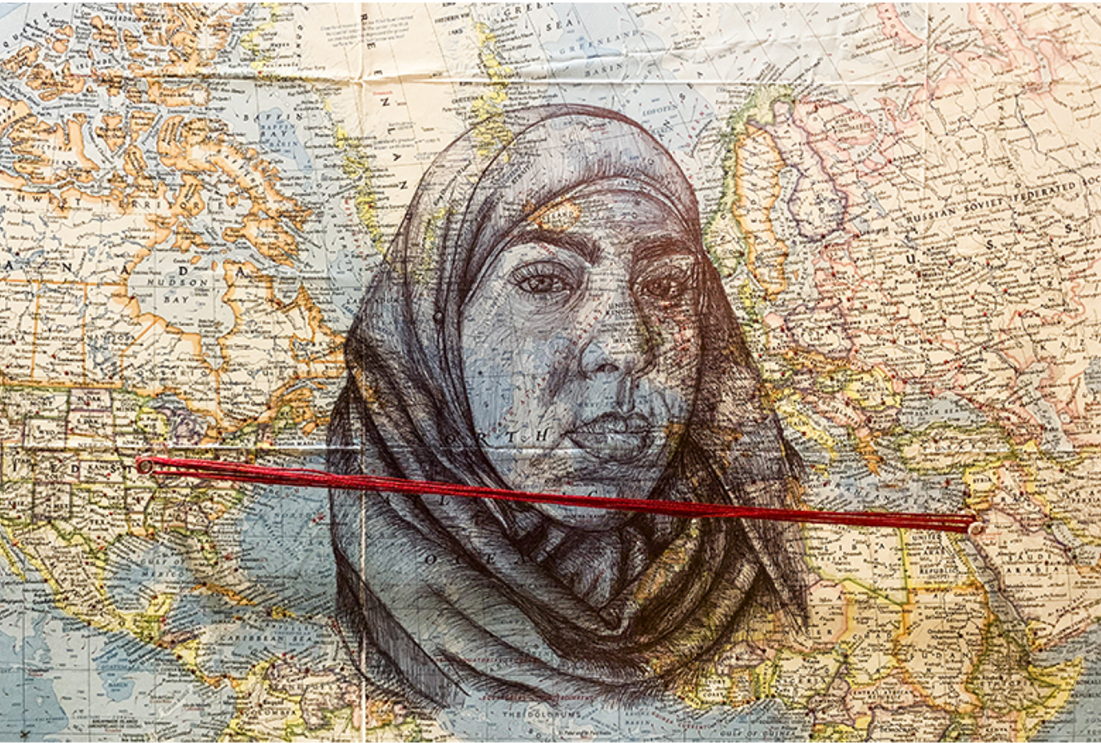 World map with a self-portrait drawn in the middle and a red thread connecting the United States and the Middle East