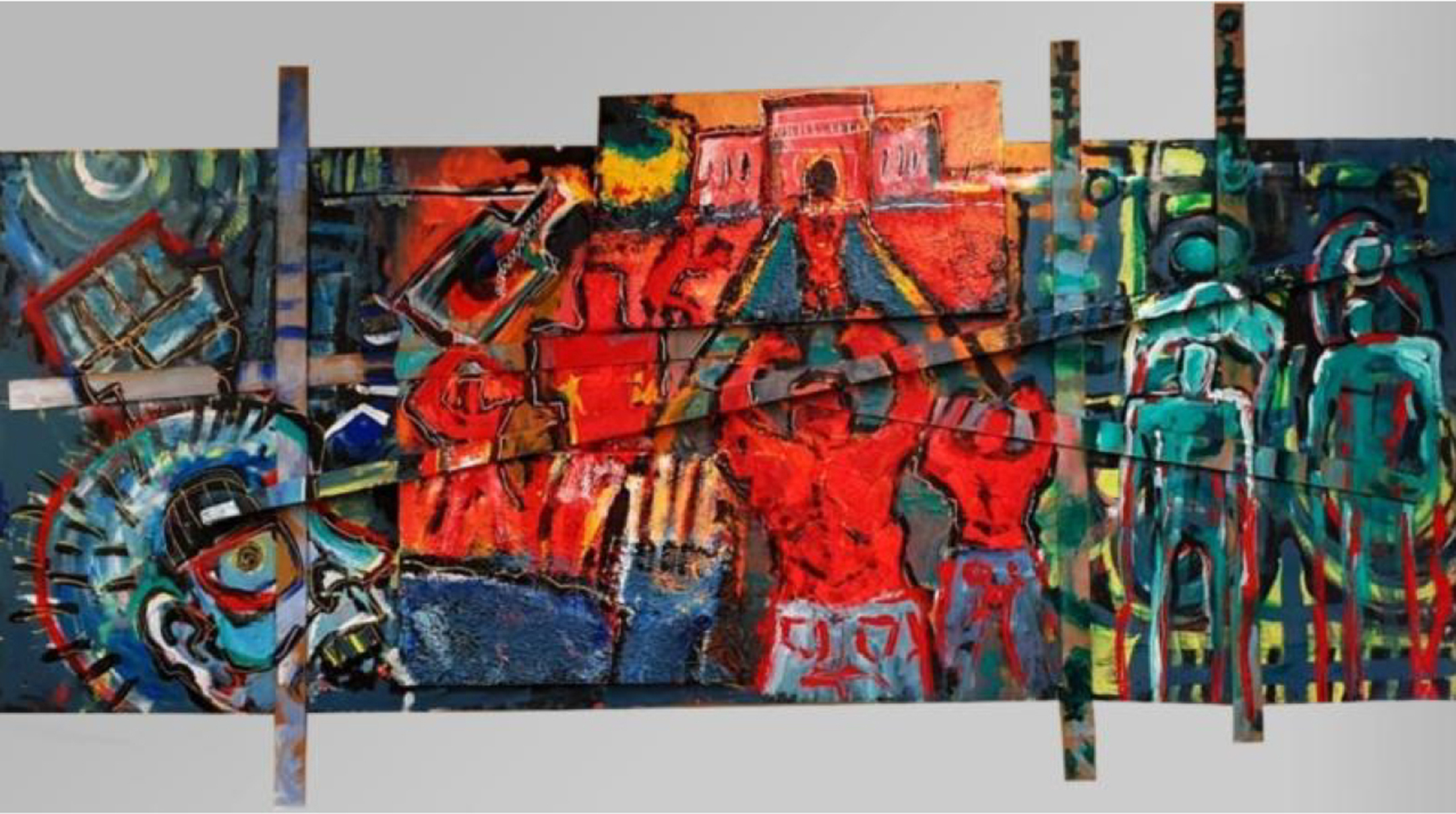 Large paneled art work, in red, green, and blue depicting abstract scenes of protest and city experience