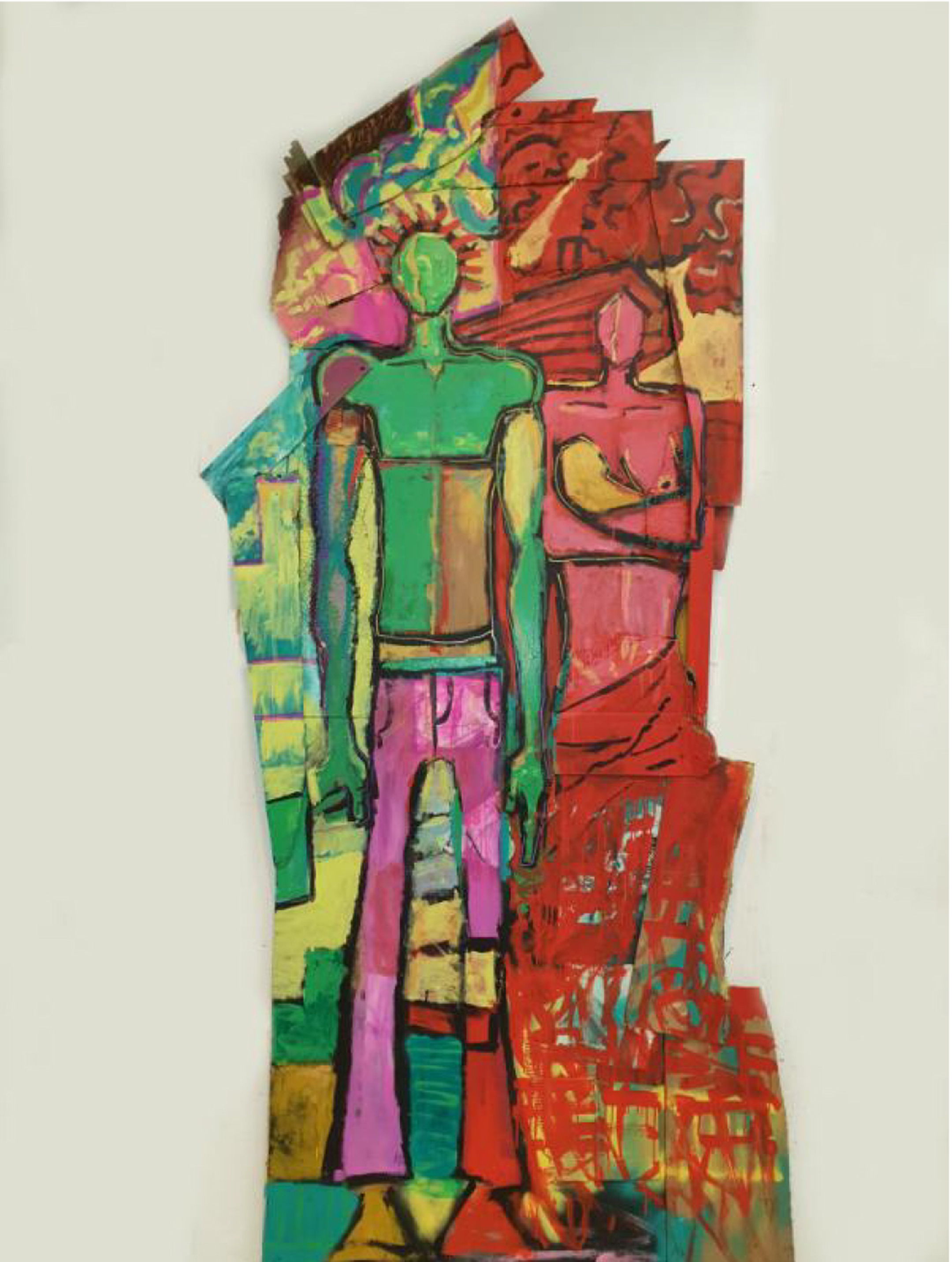 Large vertical art work with abstract human forms painted in green, pink, red, and yellow