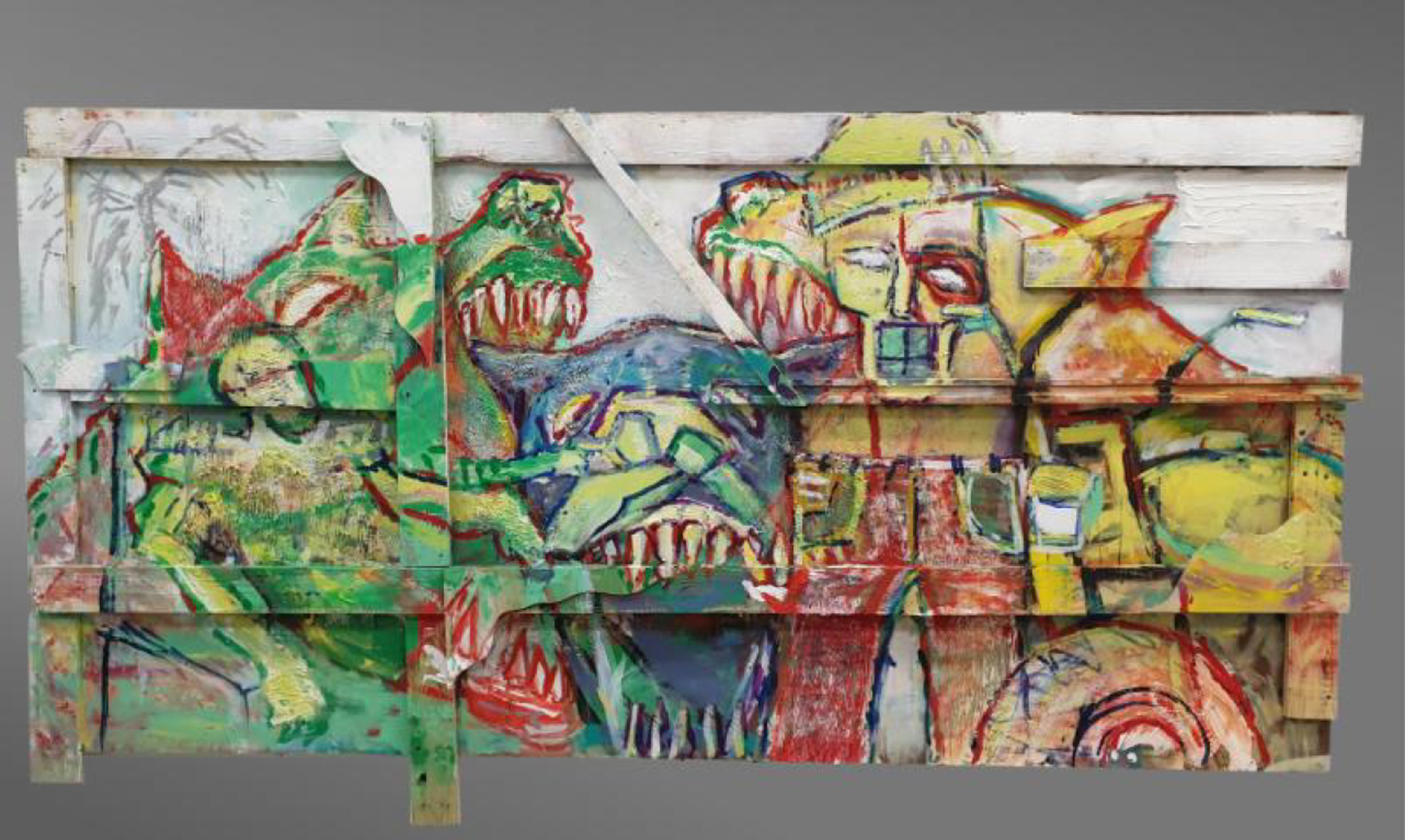 Large horizontal paneled art work, in yellow and green, depicting abstract monsters and characters