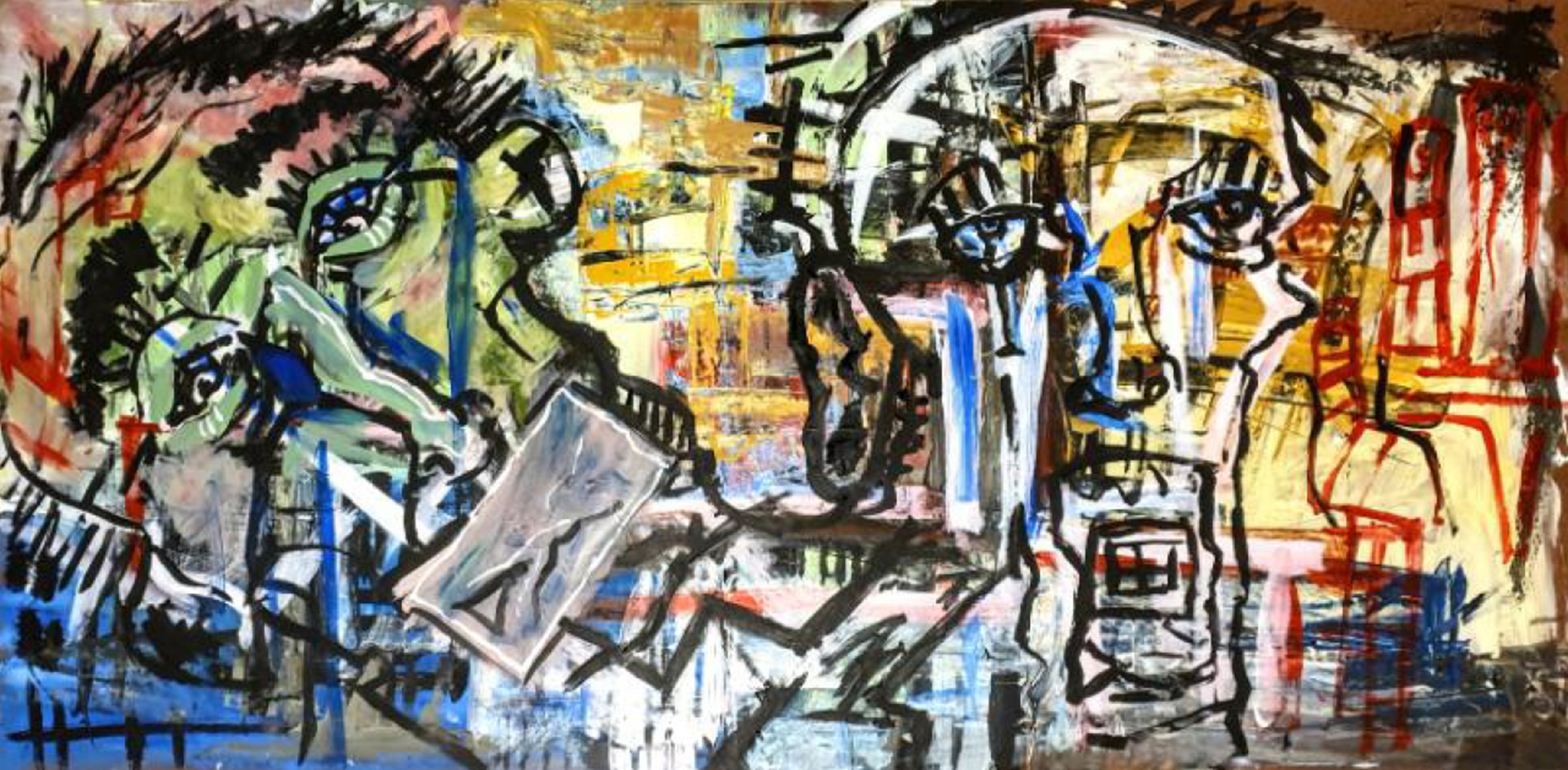 Horizontal artwork of abstract human figures and large abstract heads, in black, white, red, and yellow