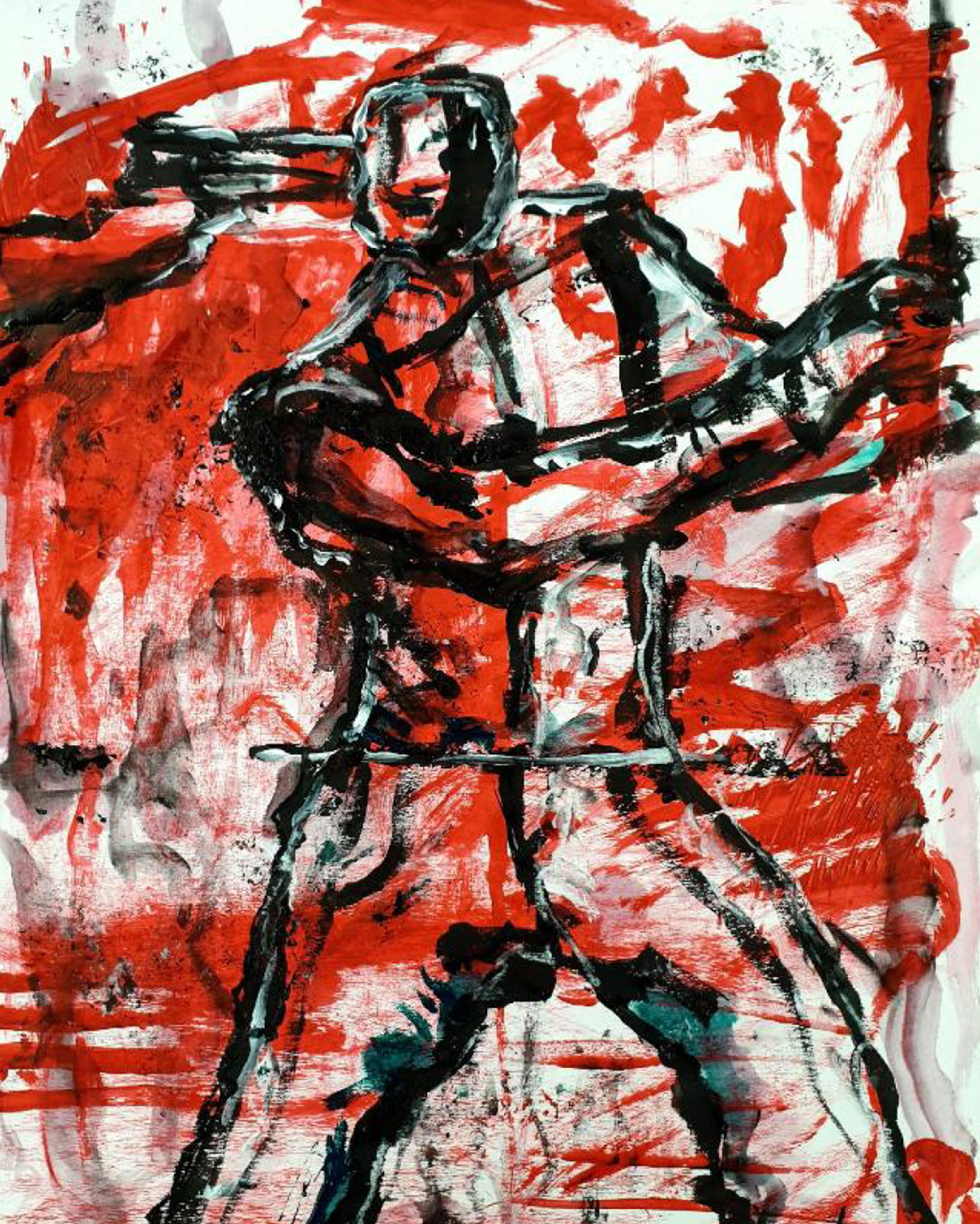 Abstract artwork in red on white of human figure swining a bat