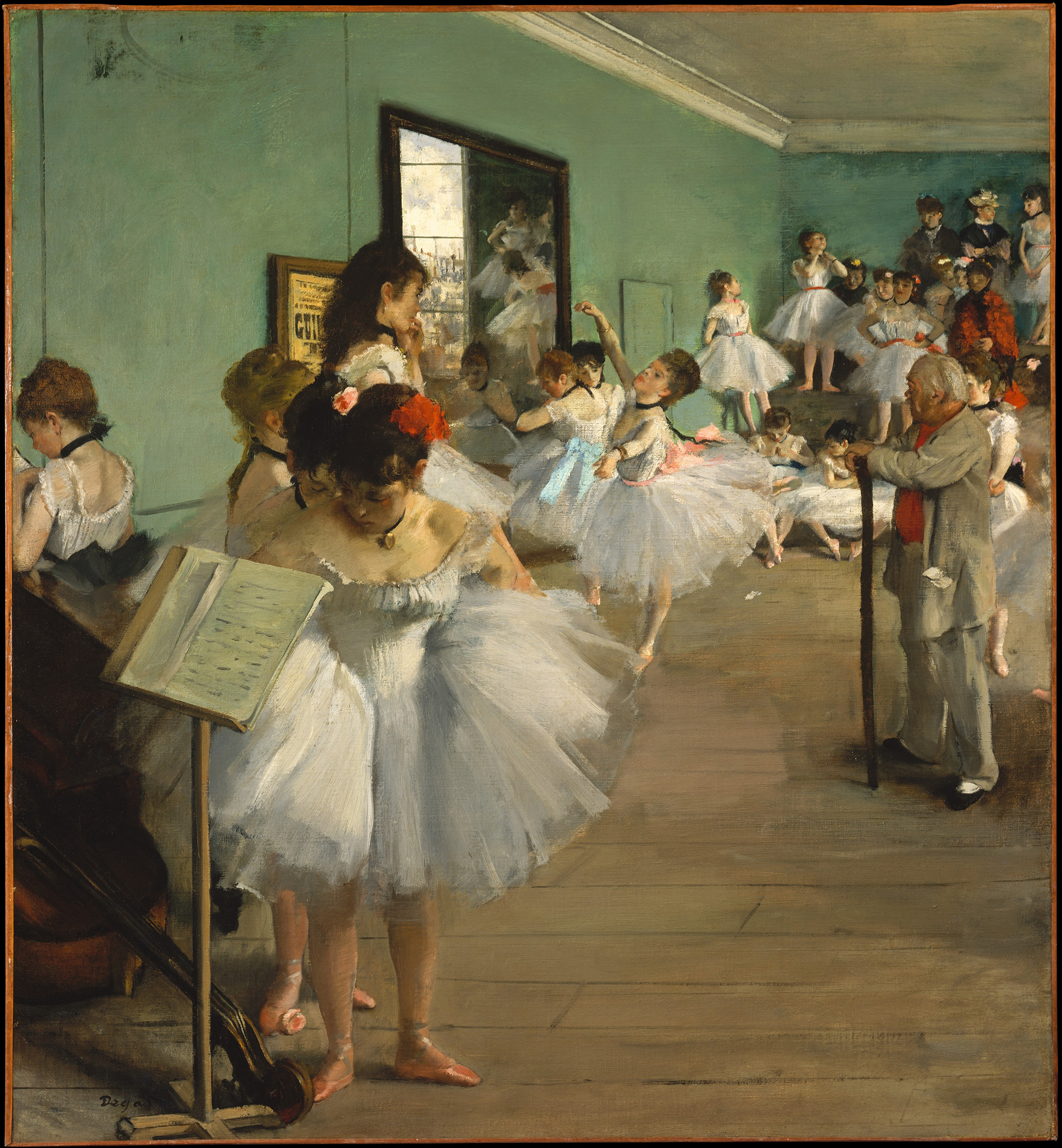 An Impressionist painting by Degas of young women dancers practicing in a studio