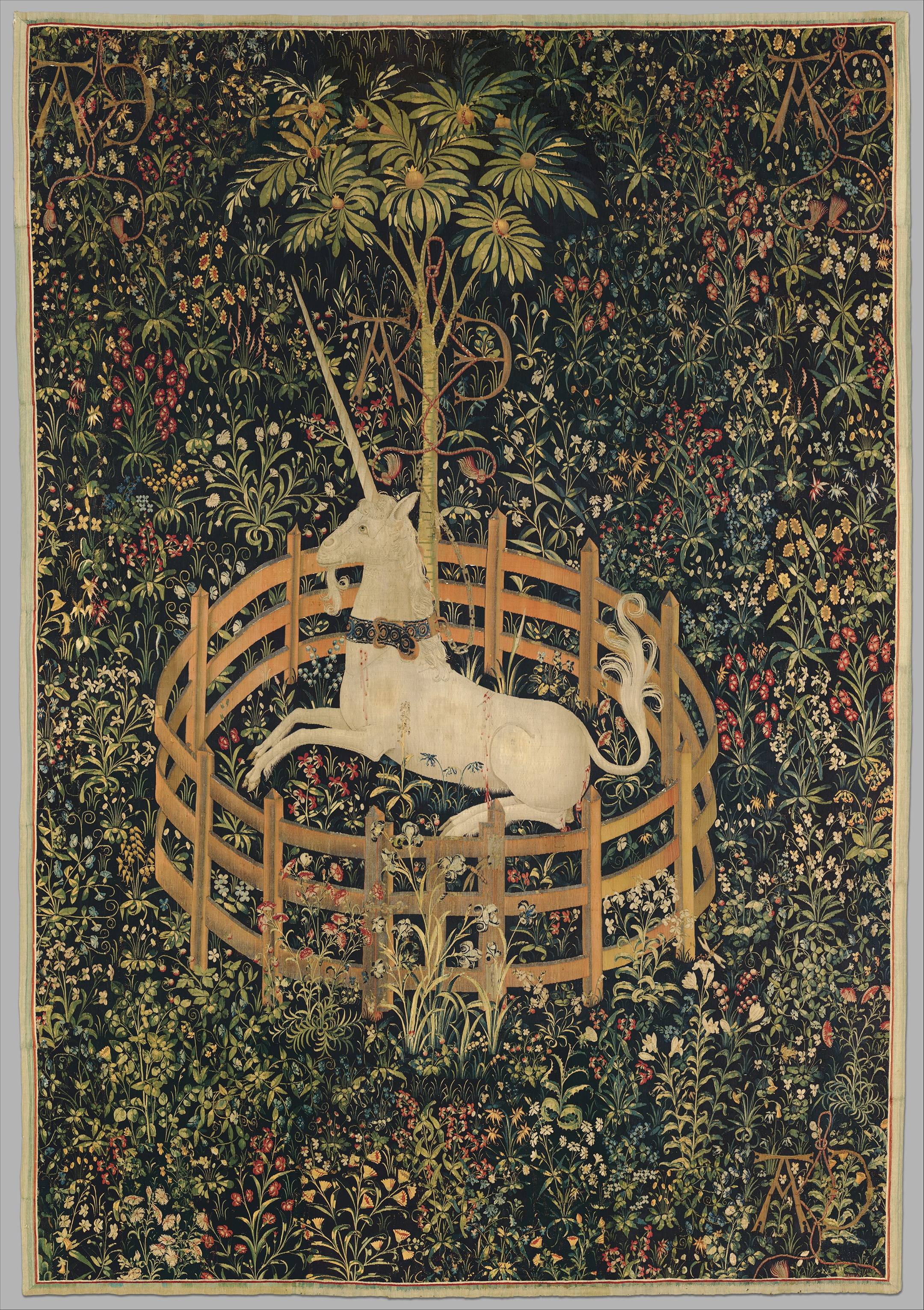 A tapestry depicting a white unicorn with a large horn in a fenced-in pen in a lush green garden