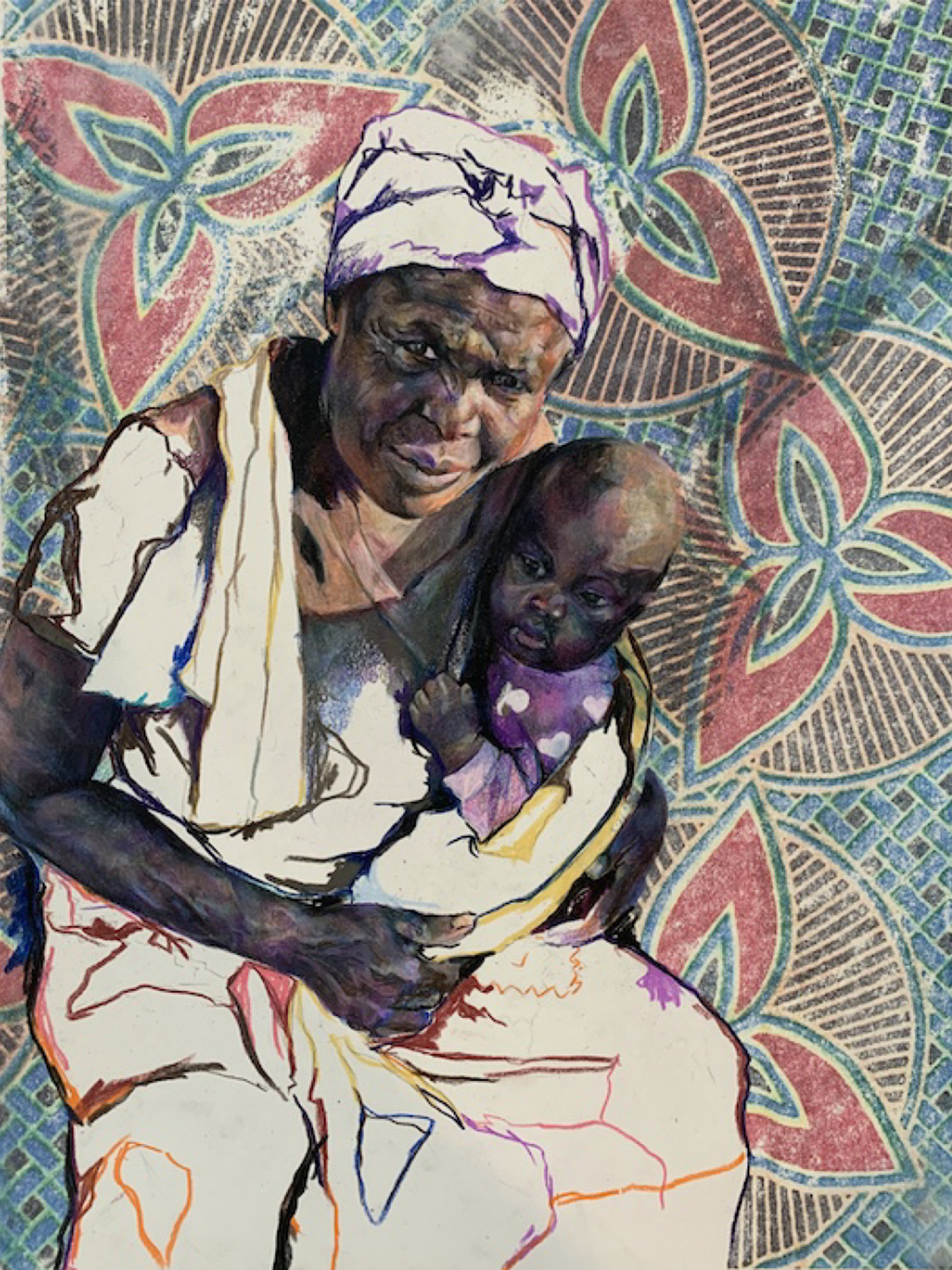 Illustration of an elder black woman holding a child against an African-art patterned background