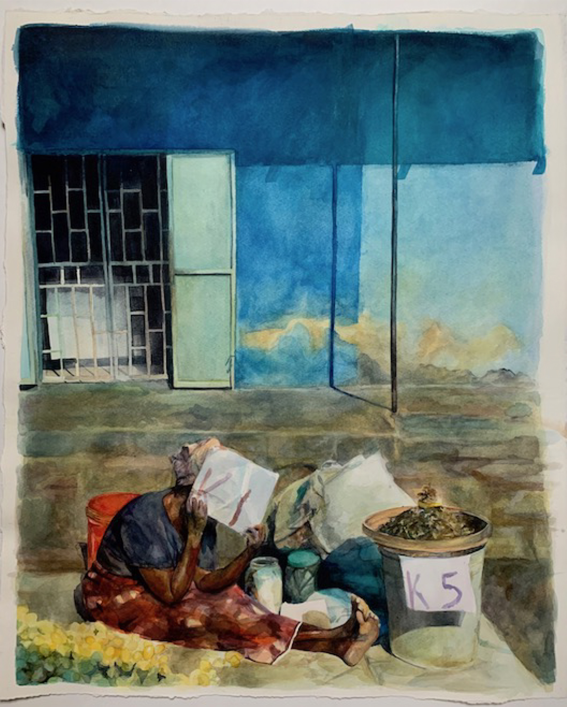 Illustration of a woman sitting on the ground, with a bundle of belongings, shielding her face, in front of a building
