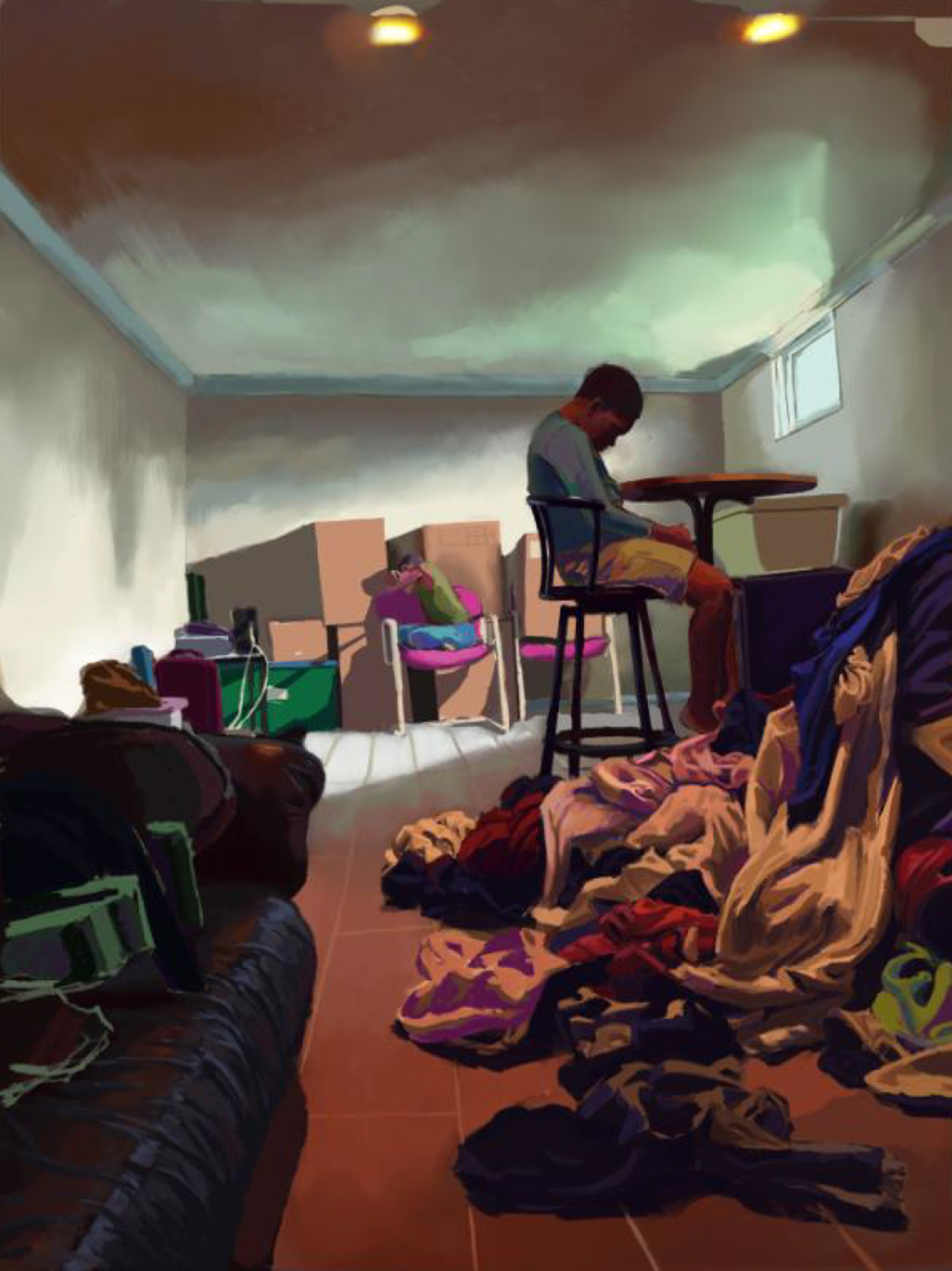 Digital illustration of a cluttered room with a young man seated at a desk, his hand hanging in thought, in the background