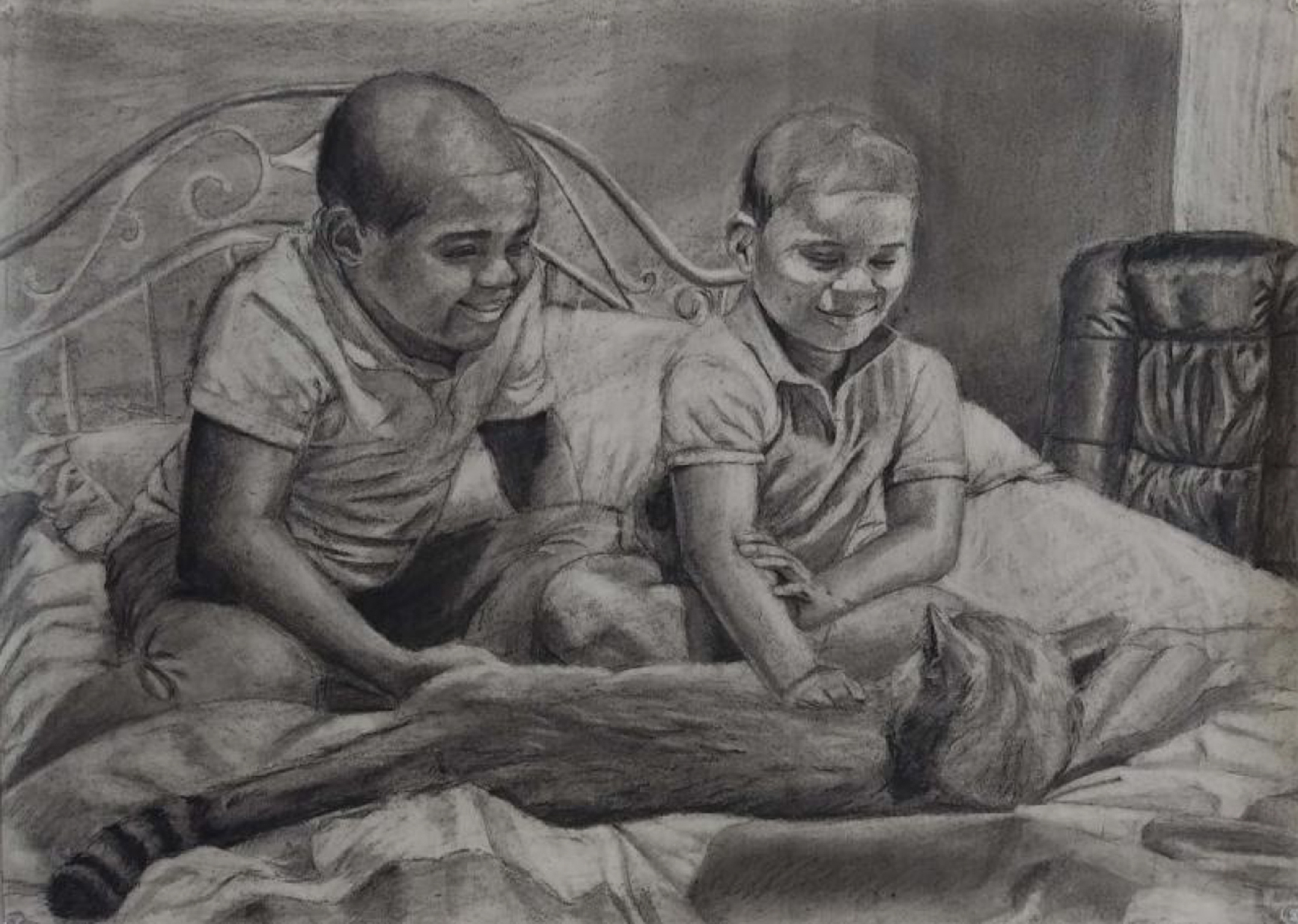 Black and white drawing of two black children on a bed with a cat