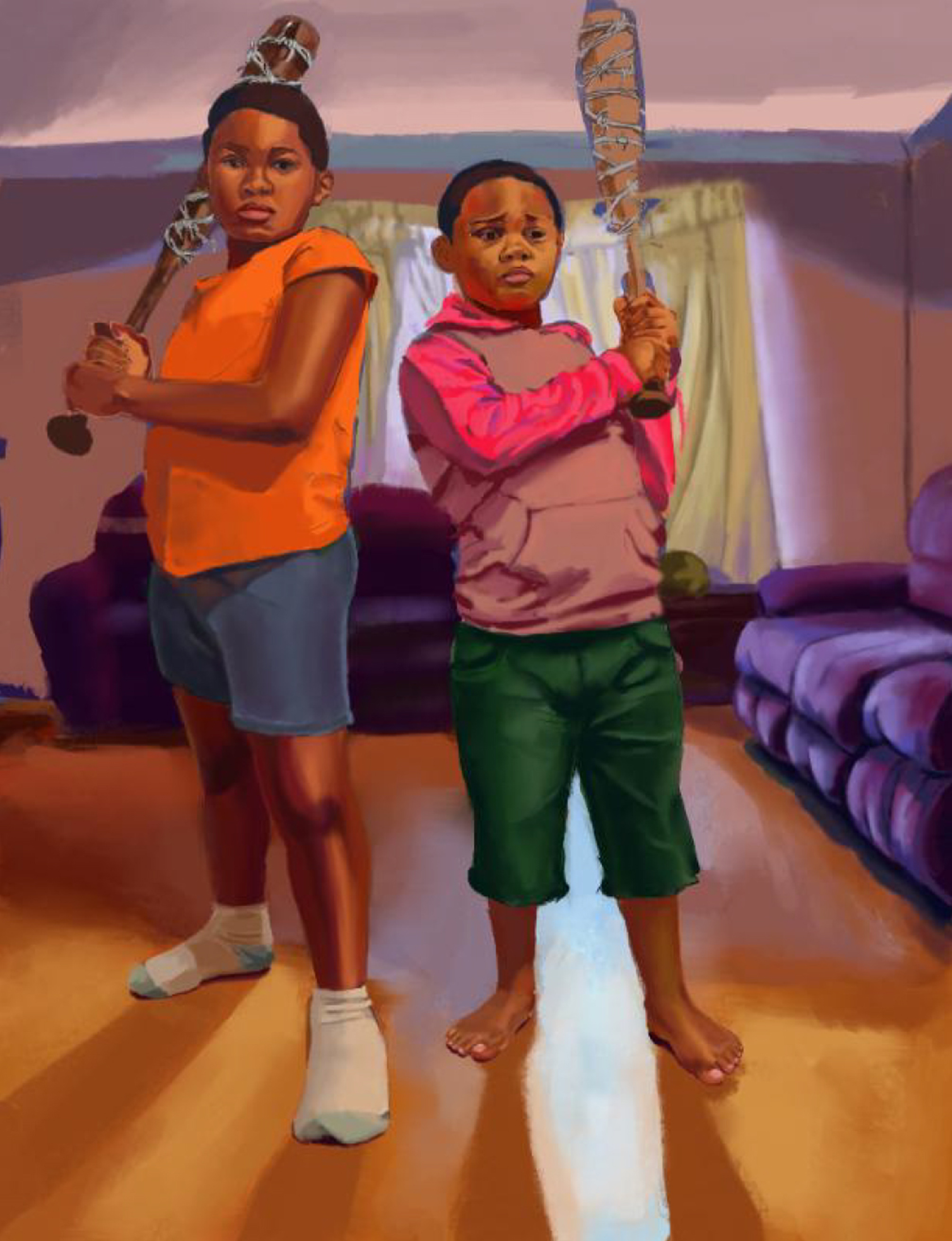 Digital illustration of two young black kids standing in a living room holding baseball bats