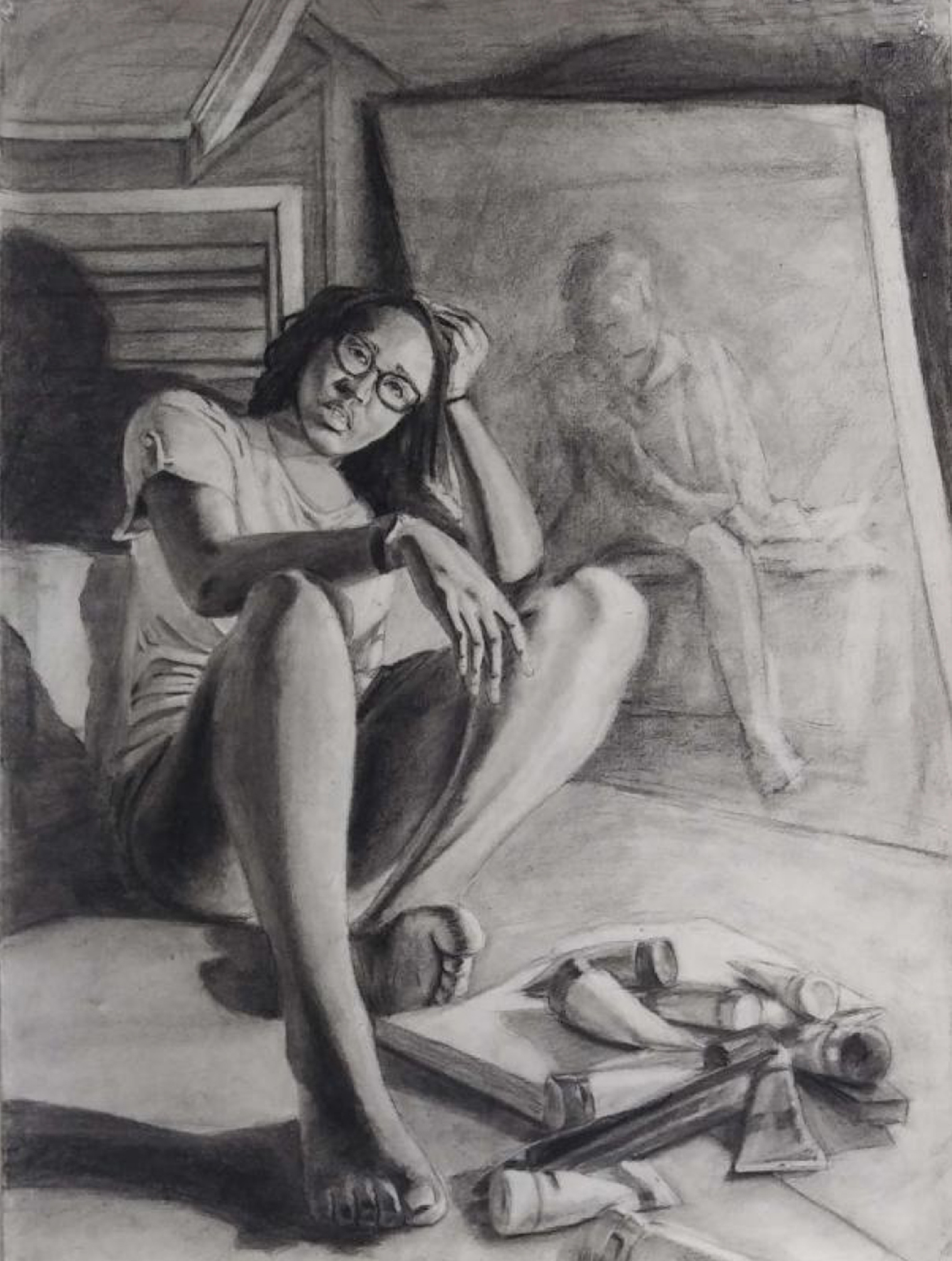 Black and white drawing of a young black woman sitting near a mirror