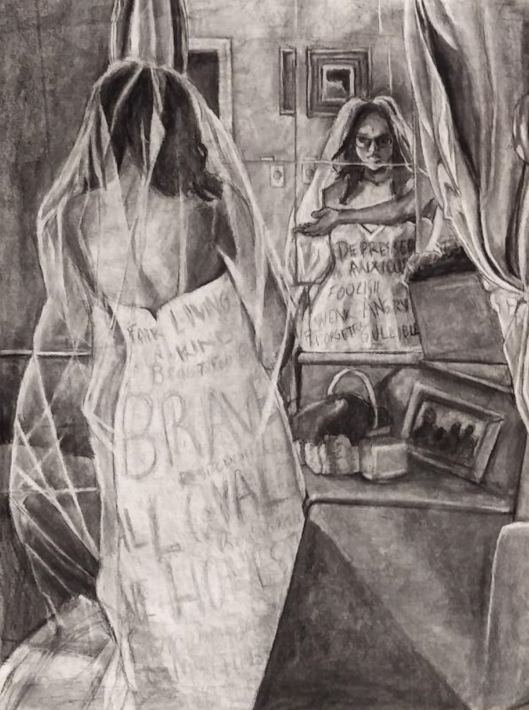 Black and white drawing of a young black woman looking in a mirror with negative words scrawled on her white dress