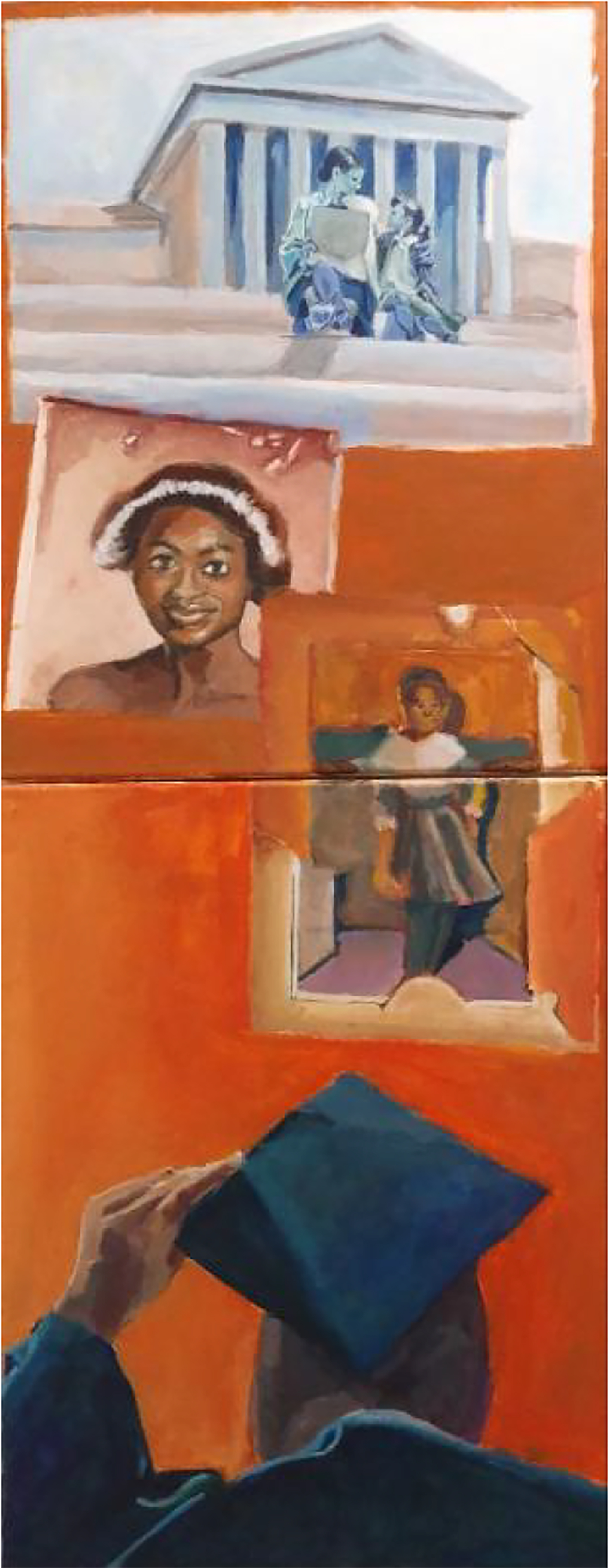 Painting with a graduate seen from behind at the bottom of the canvas looking up an orange wall that is topped with a columned building