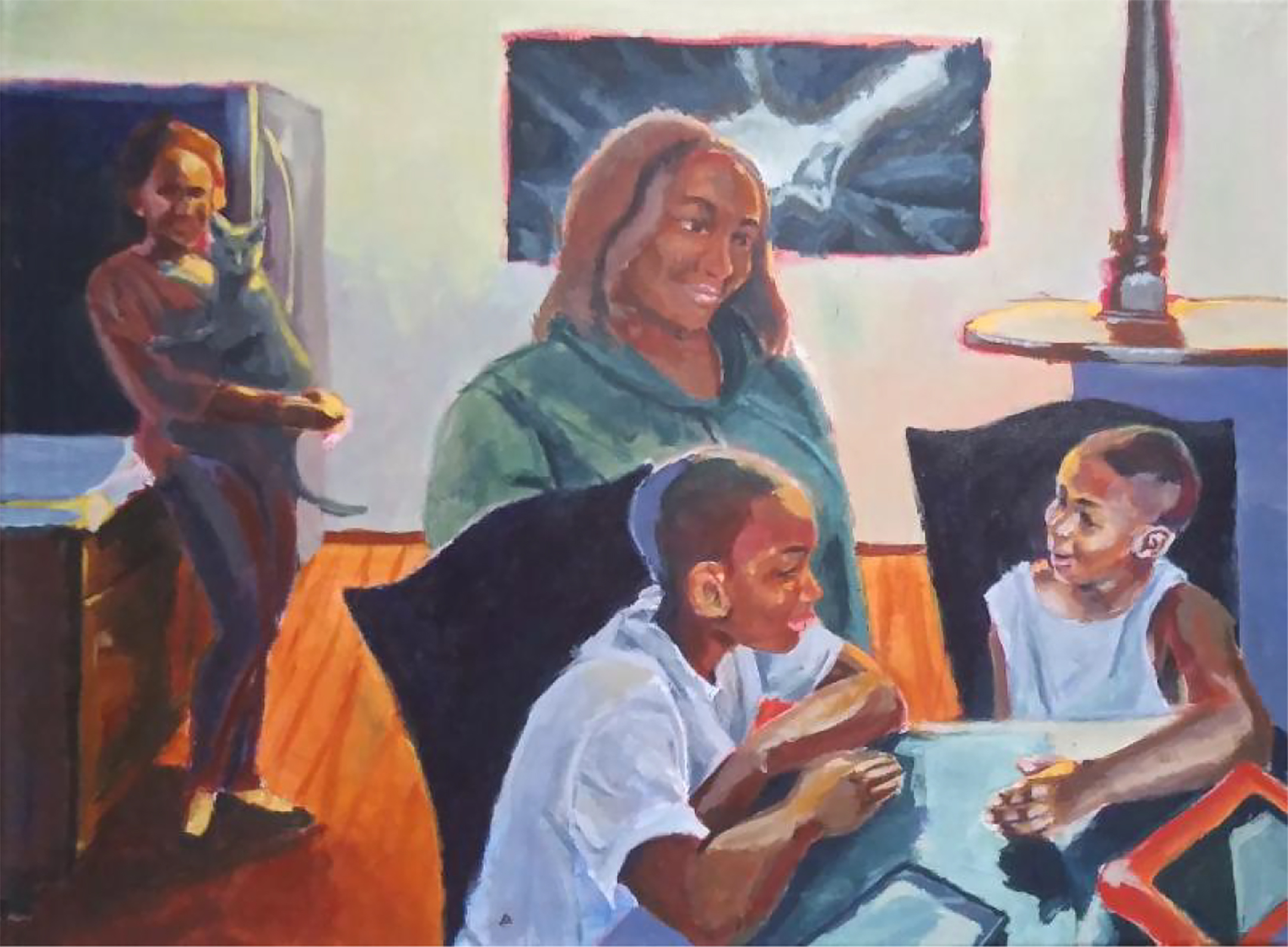 Painting of a black family sitting around a dining room table