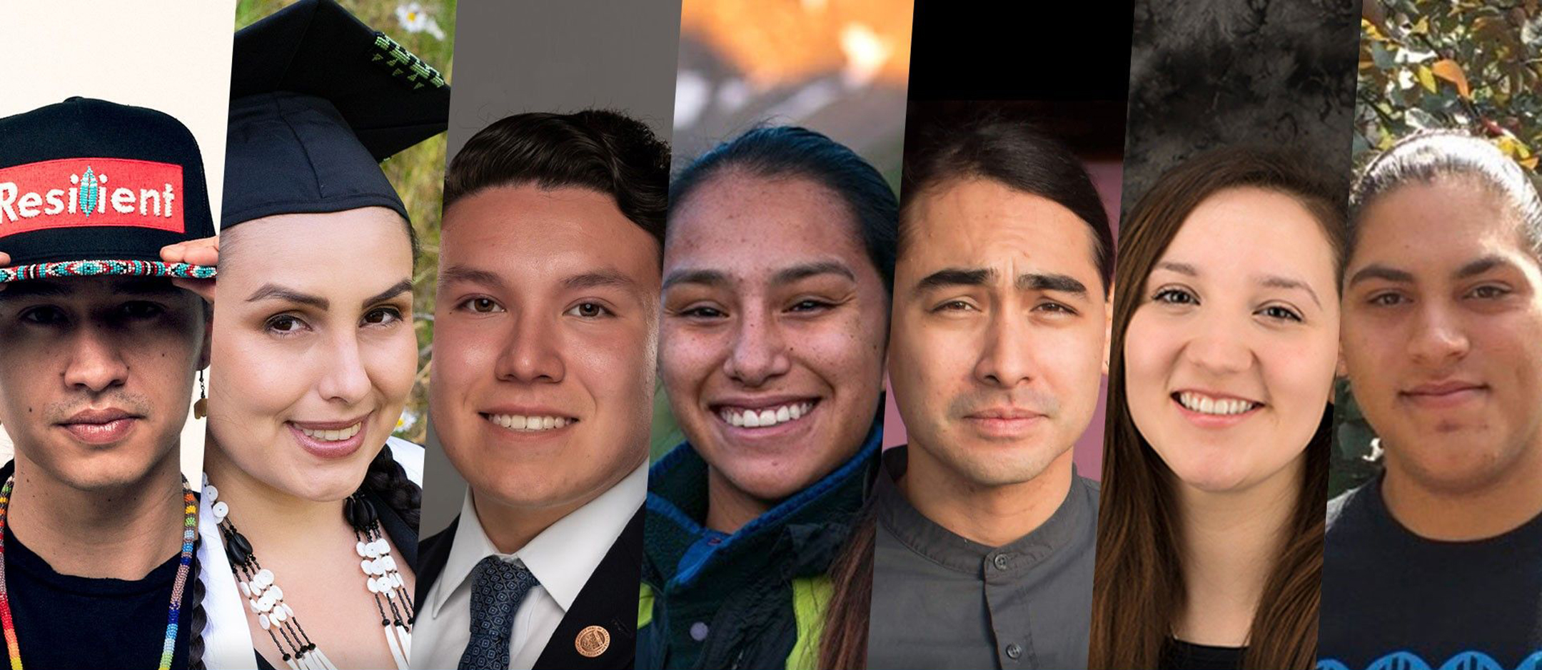 Grid of portraits of seven young native Americans
