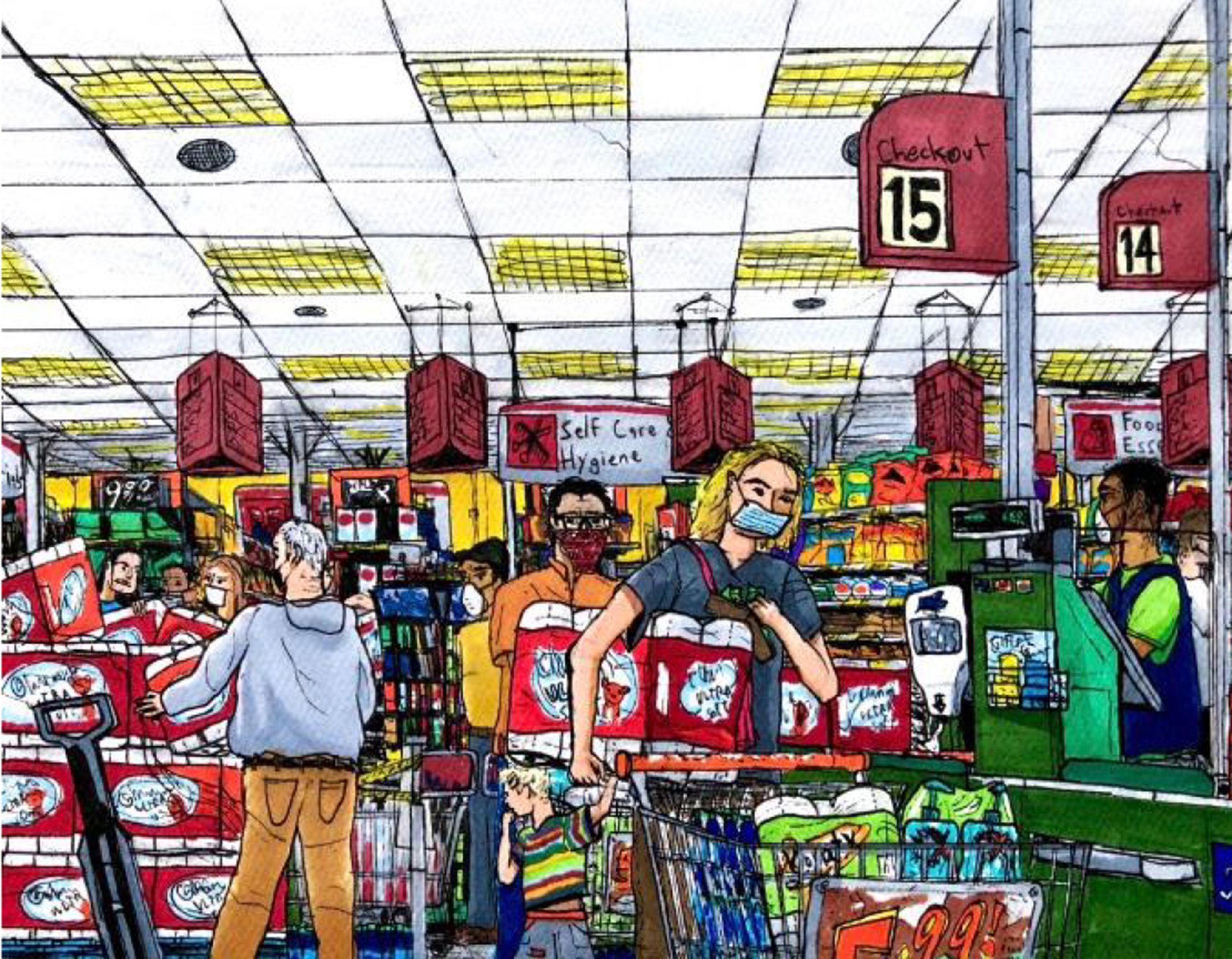 Colorful illustration of people shopping in a grocery store, wearing face masks and carrying essential items like toilet paper and cleaning supplies