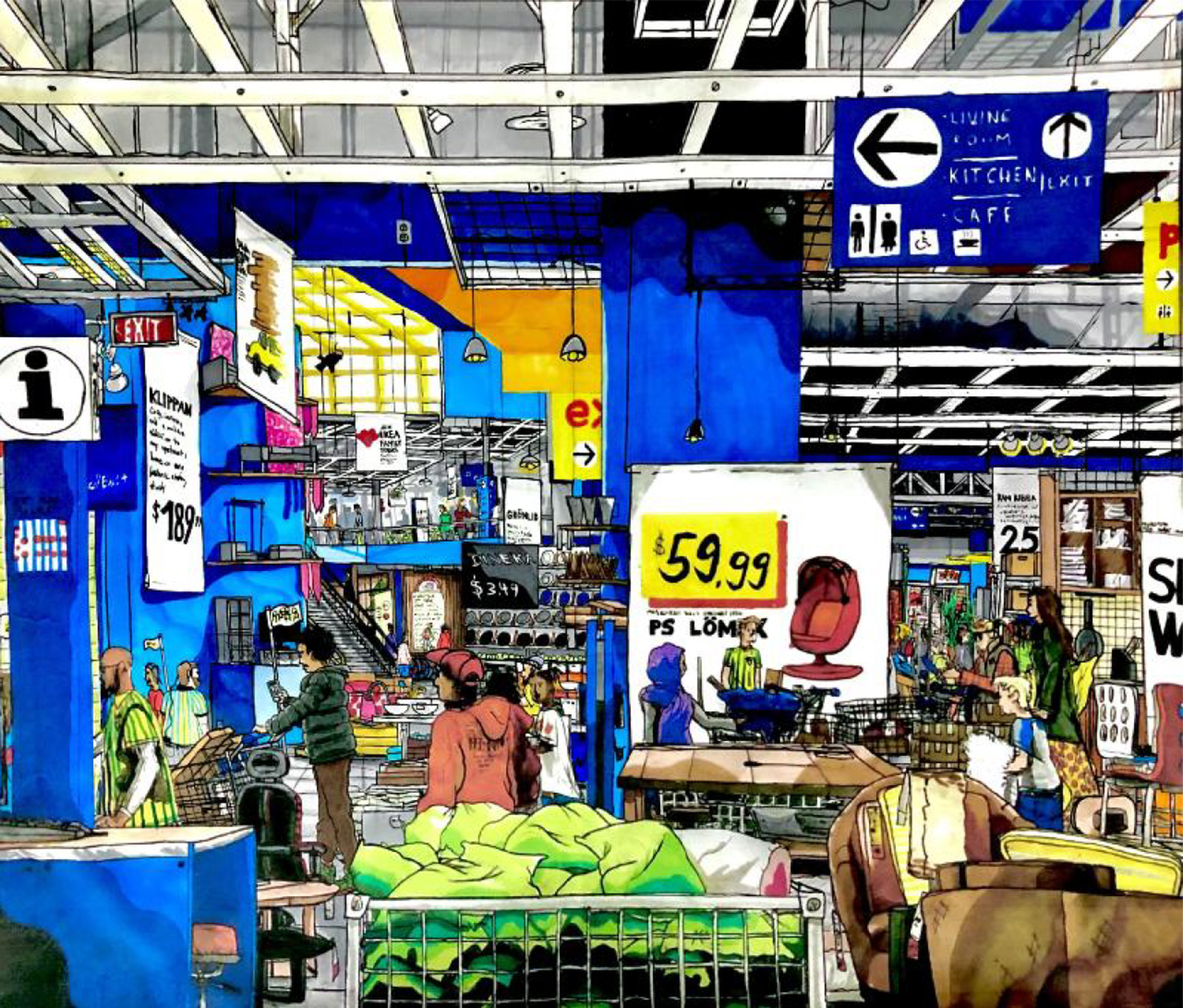 Colorful illustration of people shopping in an Ikea store