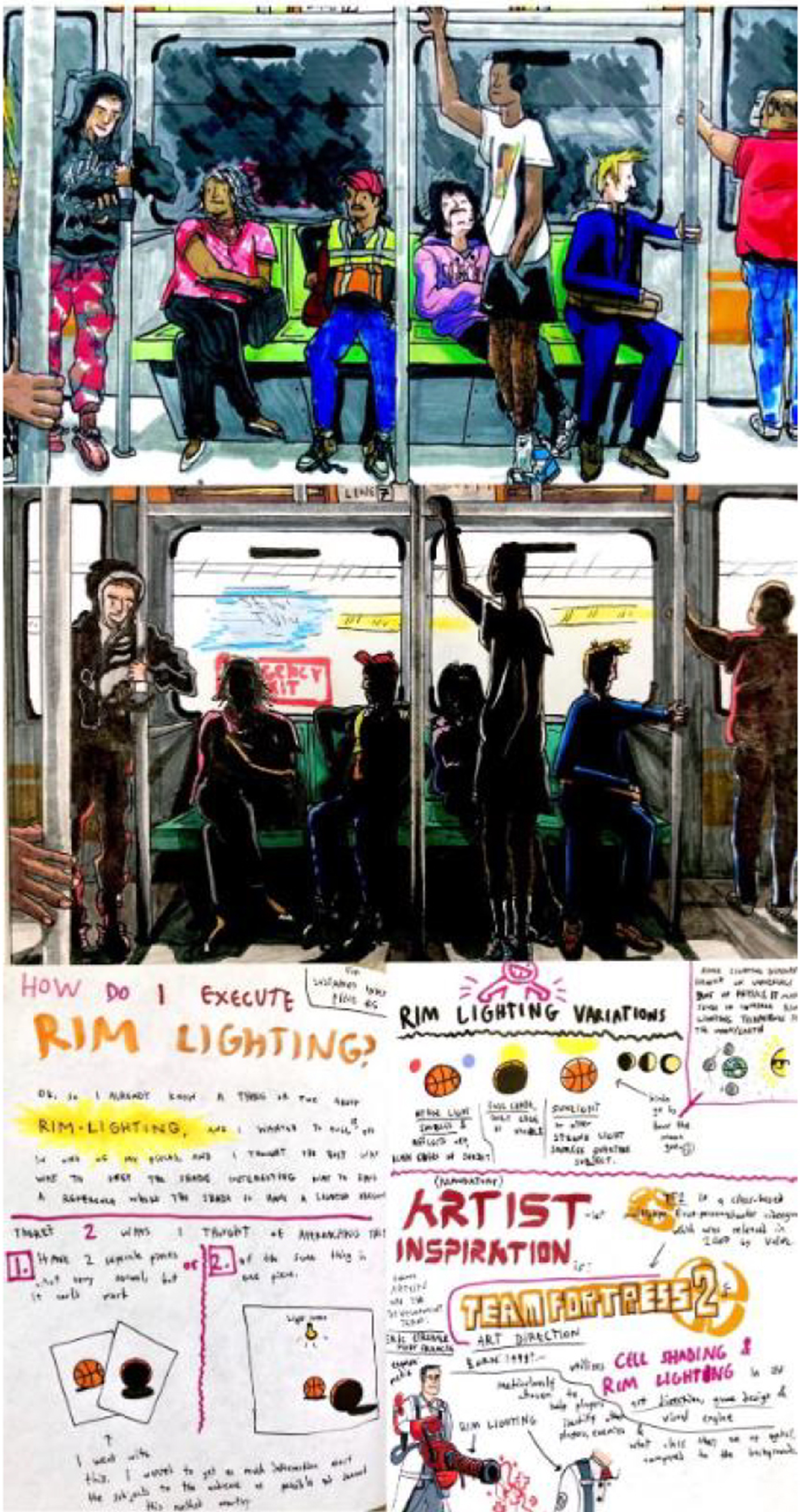 Illustration of two subway scenes stacked on top of each other, one in light the other in darkness and shadow