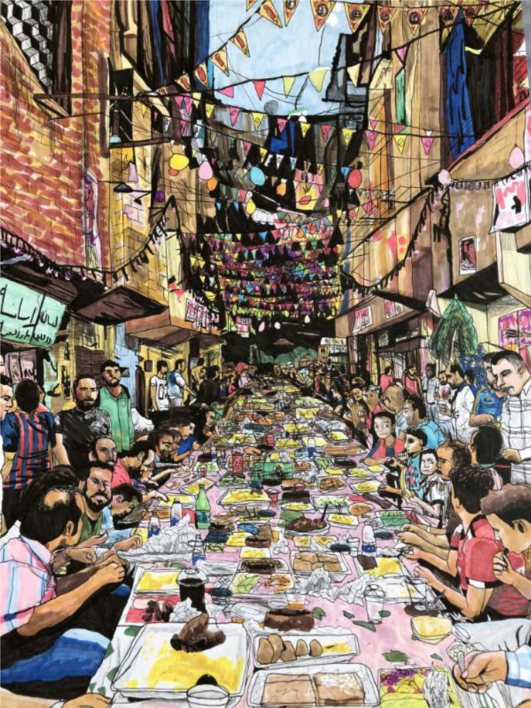 Illustration of a large gathering of people, eating while sitting on the street between buildings