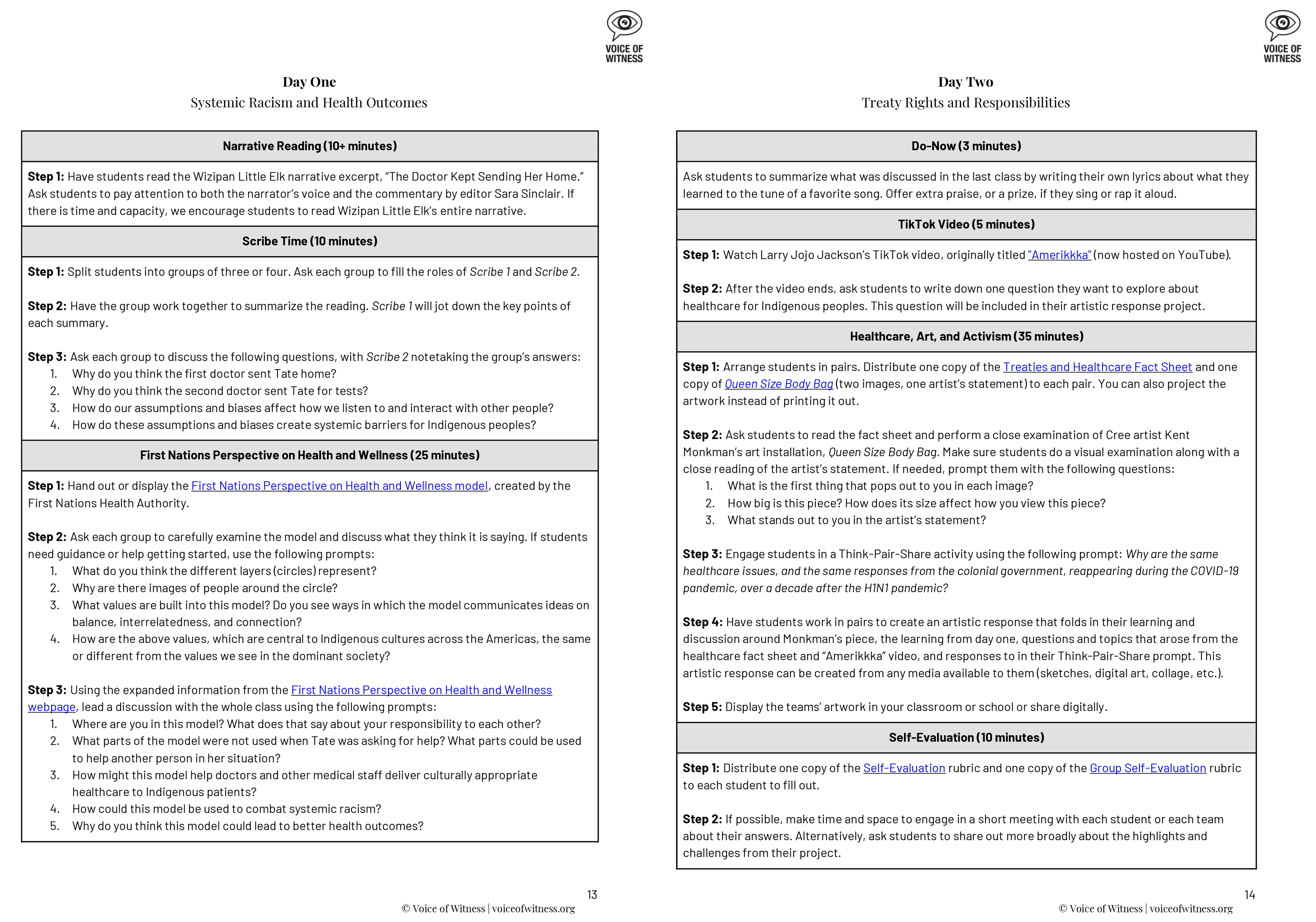 Two pages of the curriculum created to go with the book How We Go Home