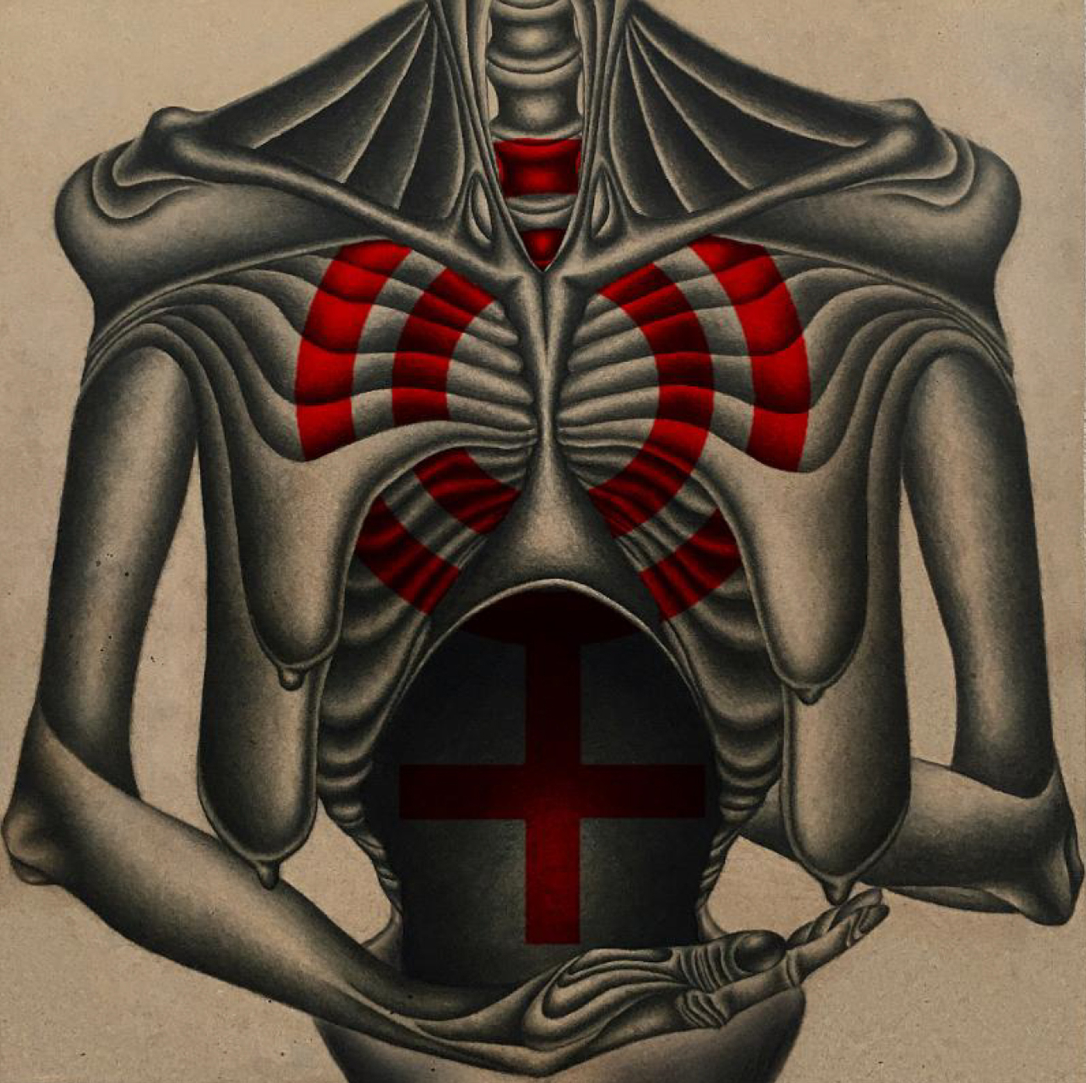 Painting of an emaciated human torso, with two red circles printed over it
