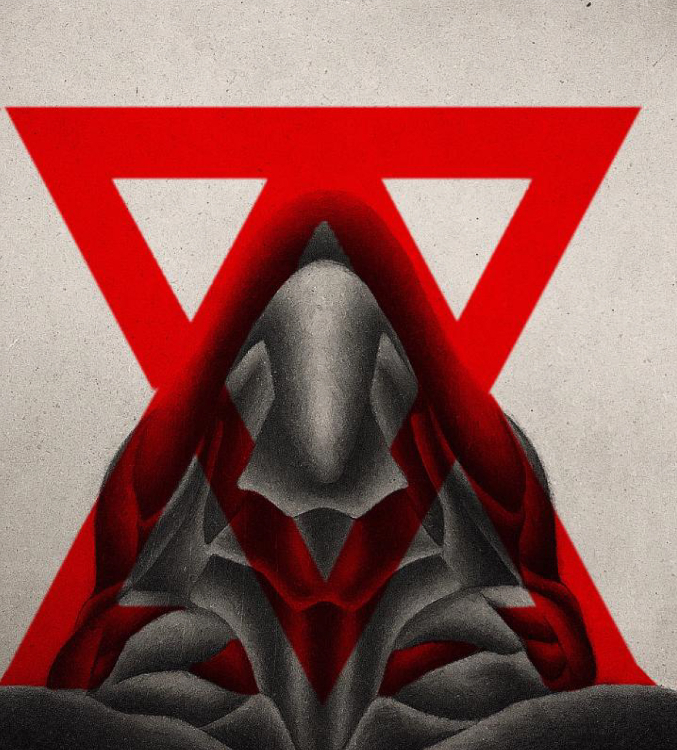 Painting of an abstract, lump-like figure, positioned in a triangle formation, with two red triangles printed overtop