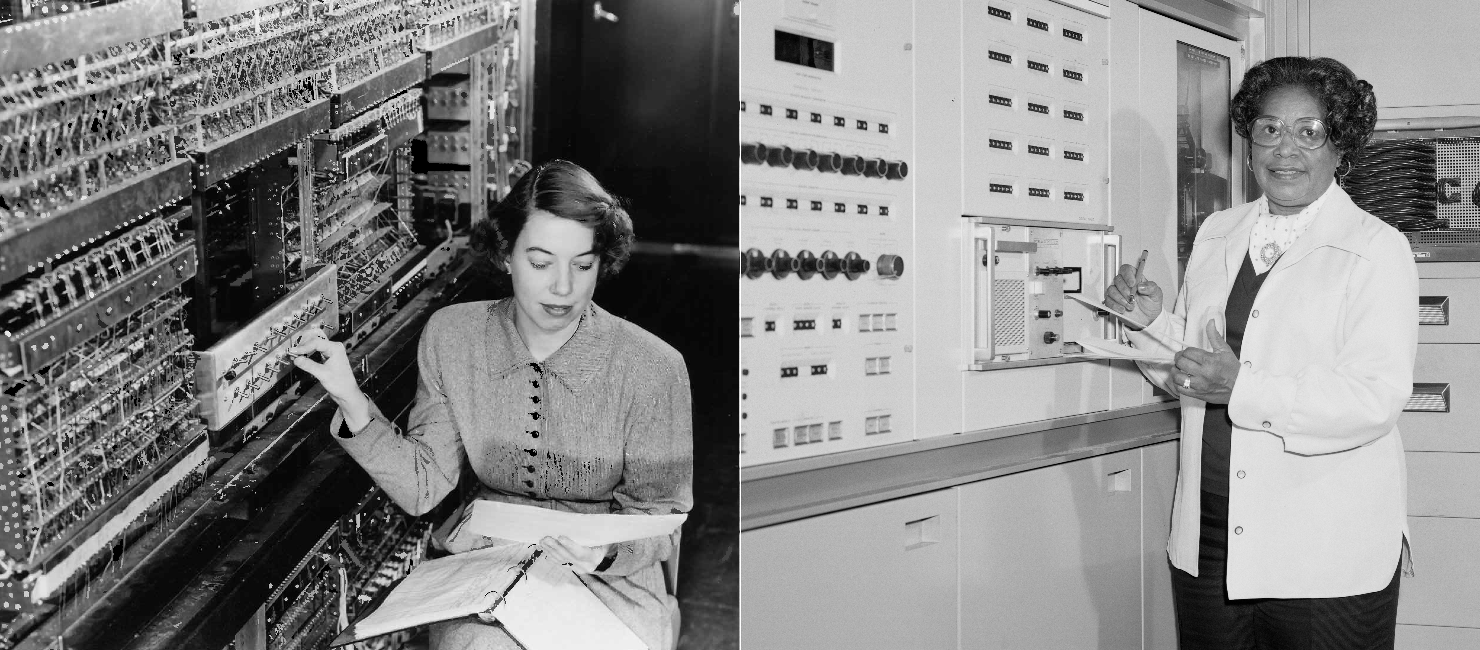 Two black and white photos of early female computer engineers