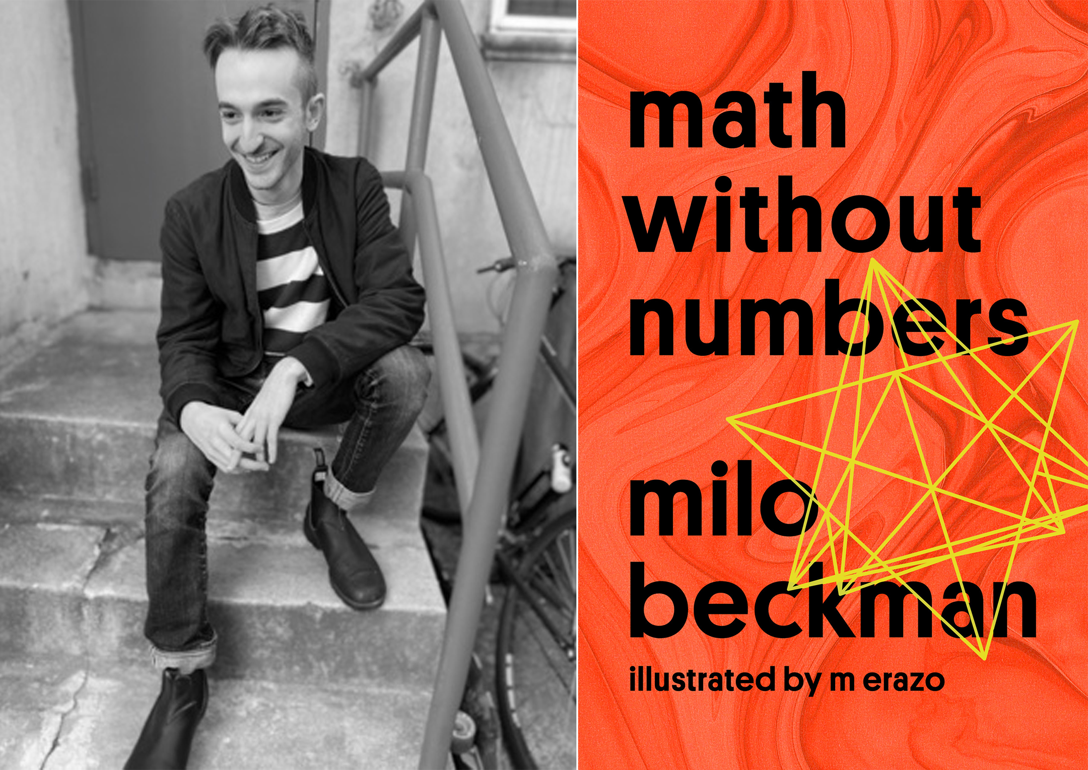Photo of author Milo Beckman on the left, and the cover of the book Math Without Numbers on the right